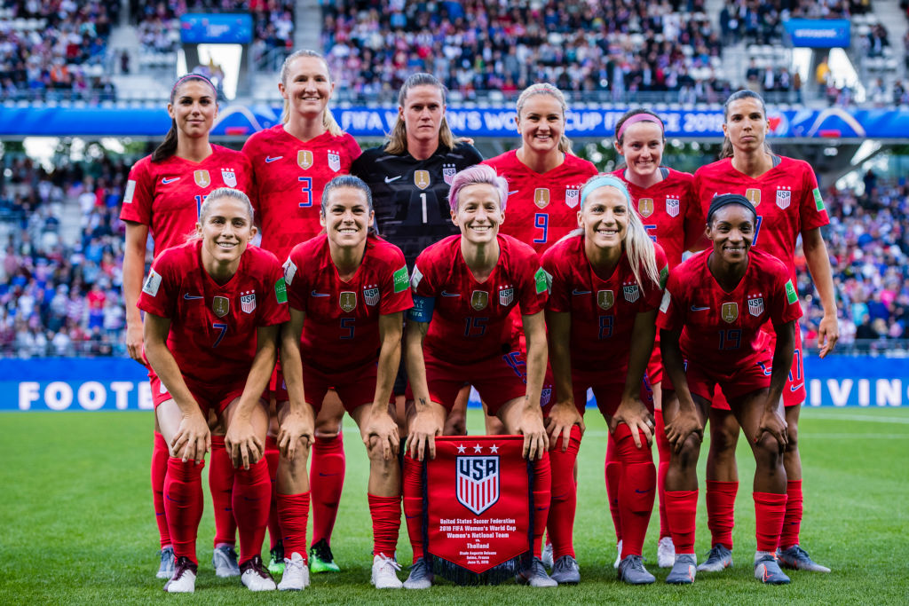 (L-R) Alex Morgan, Samantha Mewis, Alyssa Naeher, Lindsey Horan, Rose Lavelle, Tobin Heath, Abby Dahlkemper, Kelley Ohara, Megan Rapinoe, Julie Ertz and Crystal Dunn poses for team photo during the 2019 FIFA Women's World Cup France group F match between USA and Thailand at Stade Auguste Delaune on June 11, 2019 in Reims, France.