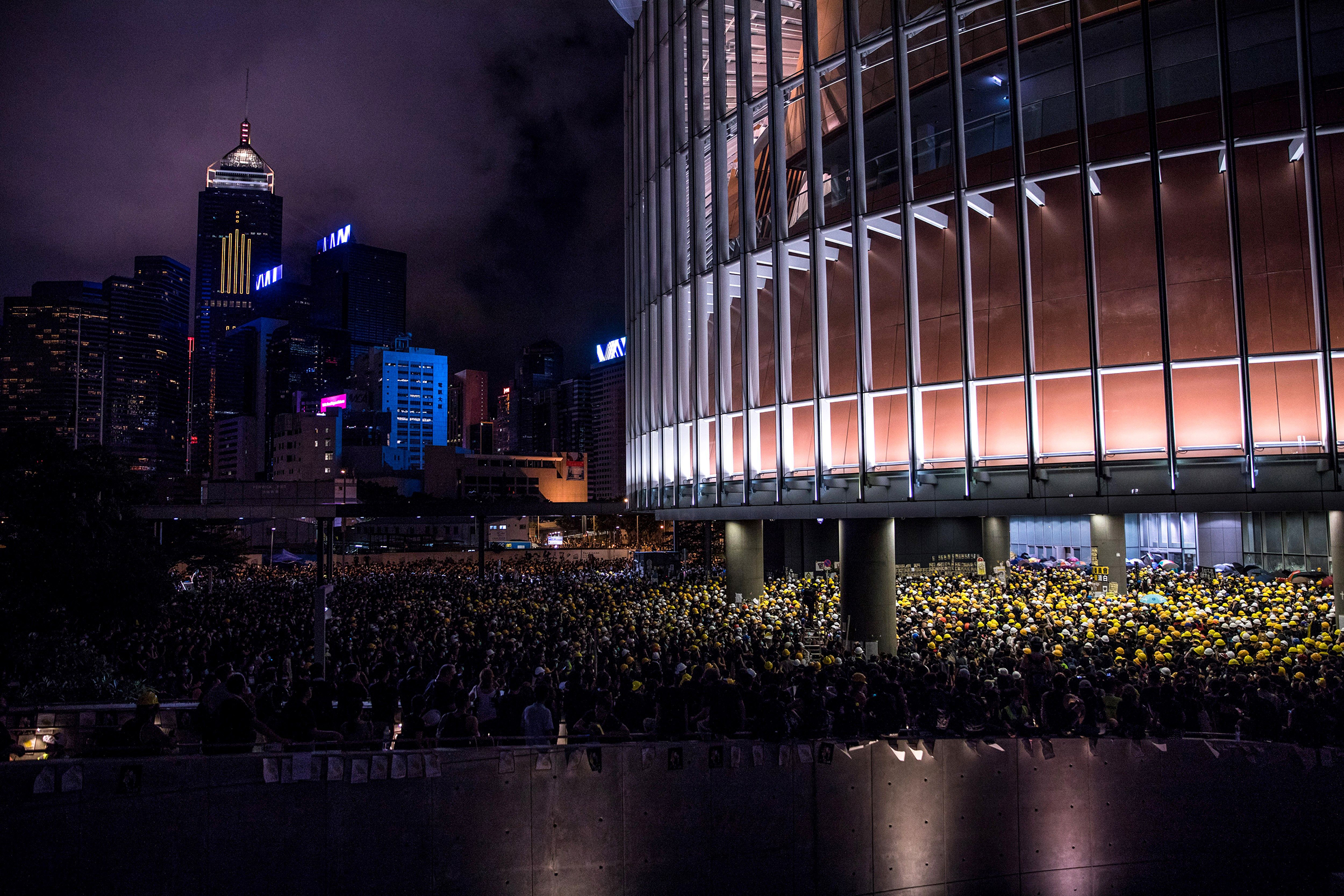 Protesters gathered outside the government headquarters in Hong Kong on July 1, 2019, on the 22nd anniversary of the city's handover from Britain to China.