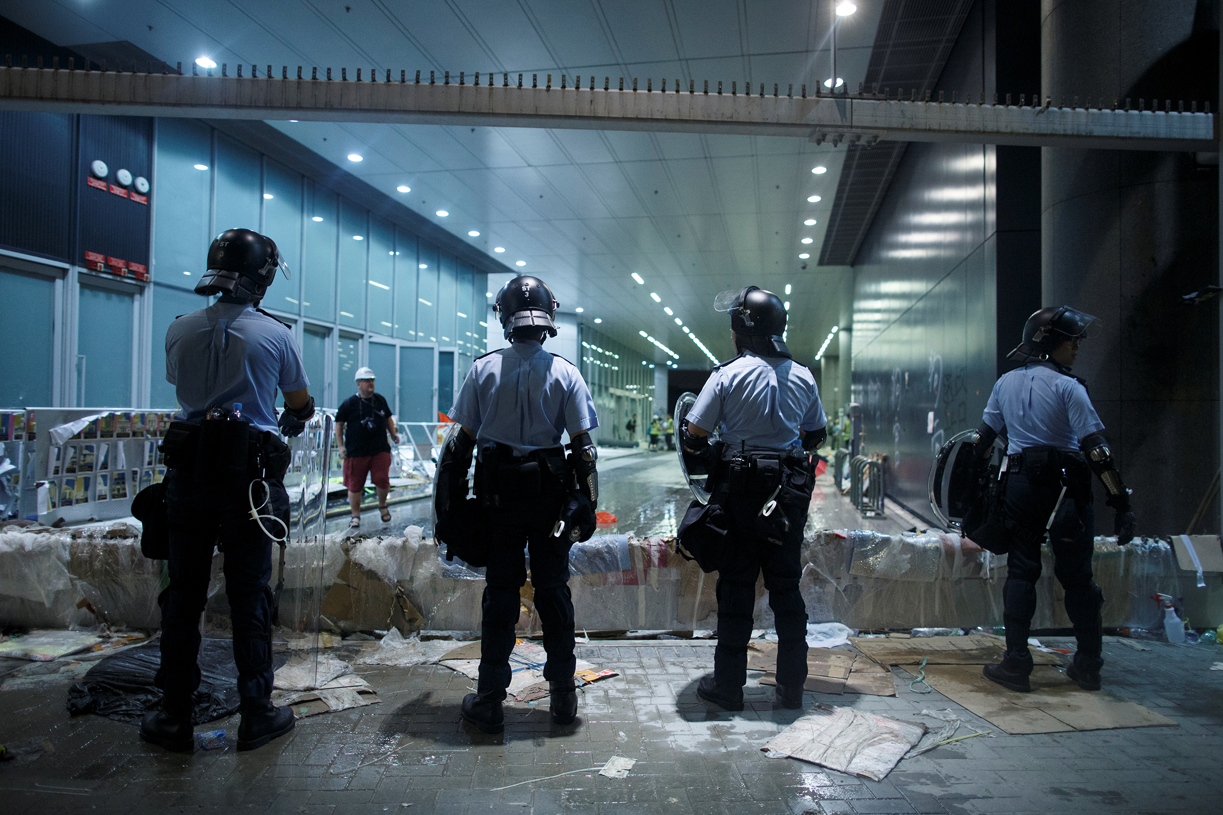 Riot police are positioned outside the Legislative Council building, after protesters stormed the complex on the anniversary of Hong Kong's handover to China, in Hong Kong on July 2, 2019.