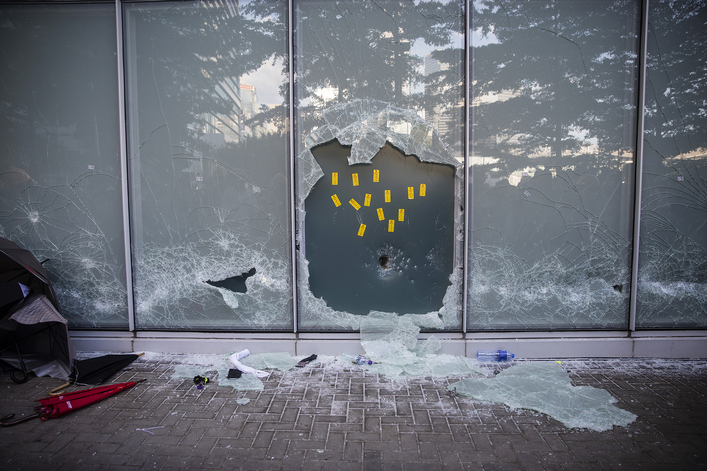 A broken window at the Legislative Council building during a protest in Hong Kong on July 1, 2019.