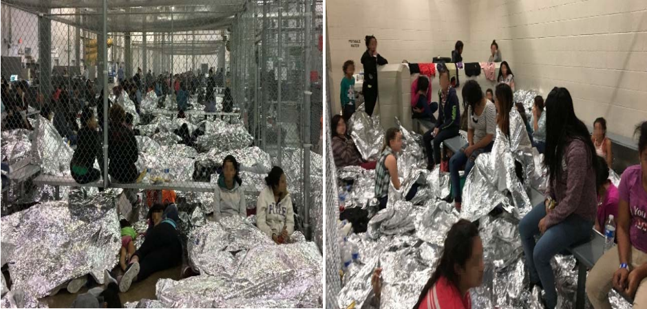 Overcrowding of families observed by OIG on June 11, 2019, at Border Patrol's McAllen, Texas, Centralized Processing Center.