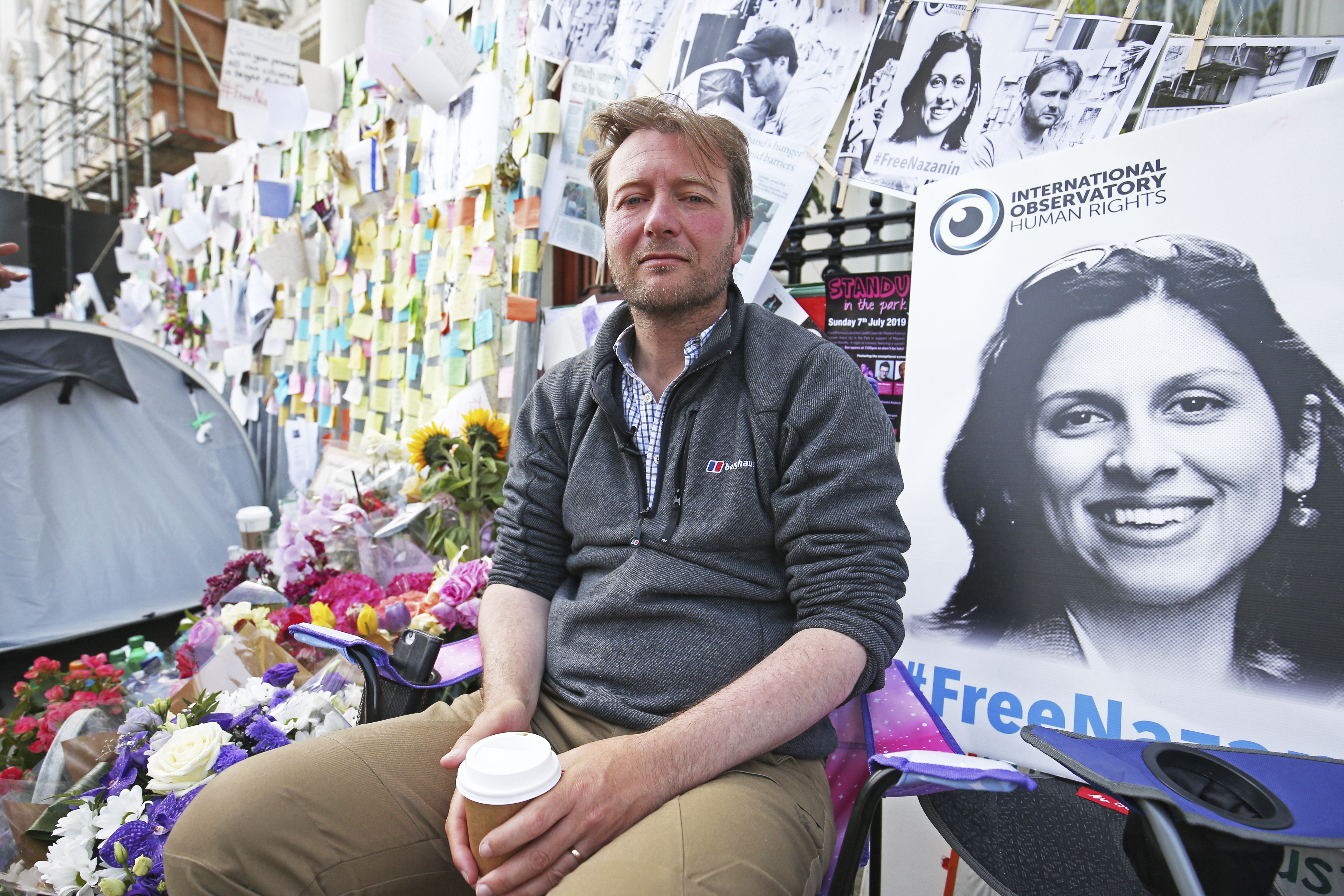 Richard Ratcliffe, the husband of detained Nazanin Zaghari Ratcliffe, outside the Iranian Embassy in London on June 29, 2019.