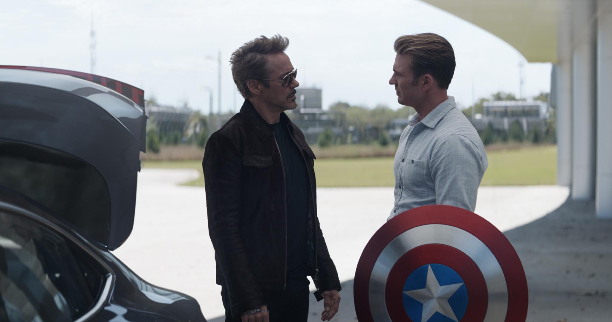 L to R: Tony Stark/Iron Man (Robert Downey Jr.) and Steve Rogers/Captain America (Chris Evans) in Avengers: Endgame