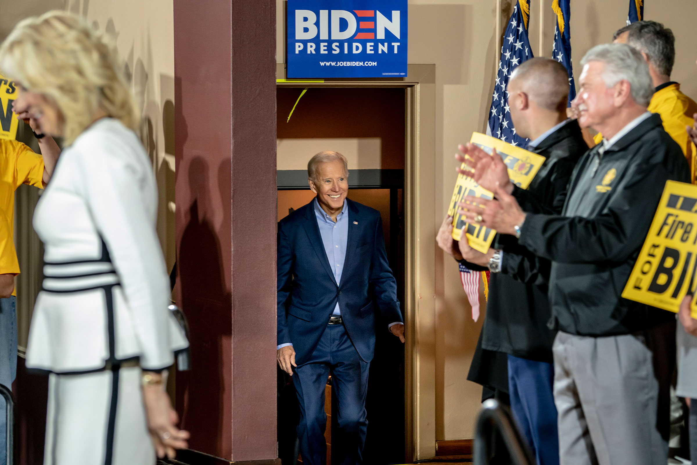 Biden made his first campaign stop on April 29 at the Teamsters Local 249 hall in Pittsburgh.