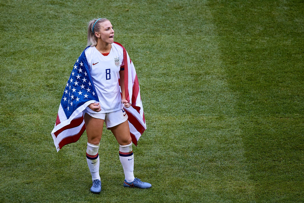 Julie Ertz of the U.S. team looks on after the victory during the 2019 FIFA Women's World Cup France Final match on July 7, 2019 in Lyon, France.