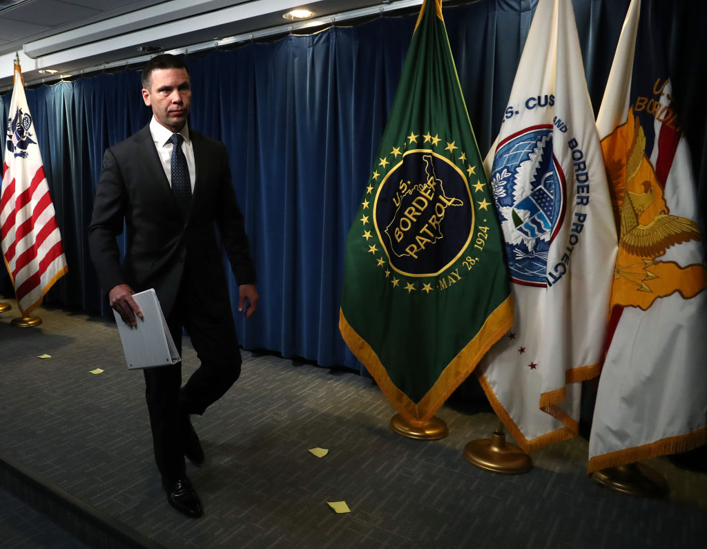 Acting Secretary of Homeland Security Kevin McAleenan walks away after a news conference at the Immigration and Customs Headquarters, on June 28, 2019 in Washington, DC.