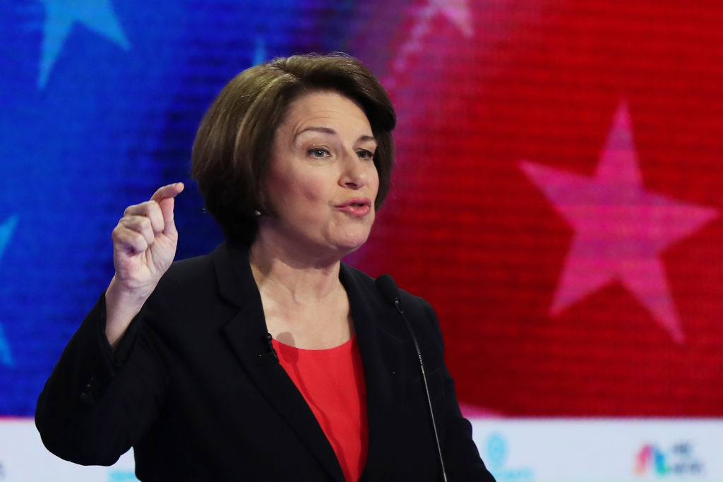 MIAMI, FLORIDA - JUNE 26: Sen. Amy Klobuchar (D-MN) speaks during the first night of the Democratic presidential debate on June 26, 2019 in Miami, Florida. A field of 20 Democratic presidential candidates was split into two groups of 10 for the first debate of the 2020 election, taking place over two nights at Knight Concert Hall of the Adrienne Arsht Center for the Performing Arts of Miami-Dade County, hosted by NBC News, MSNBC, and Telemundo. (Photo by Joe Raedle/Getty Images)