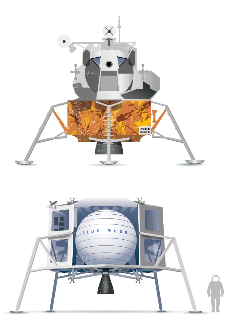 Top: The lunar module used on the Apollo 11 mission that put the first humans on the moon. Bottom: Blue Origin's planned moon-lander module, called  Blue Moon.