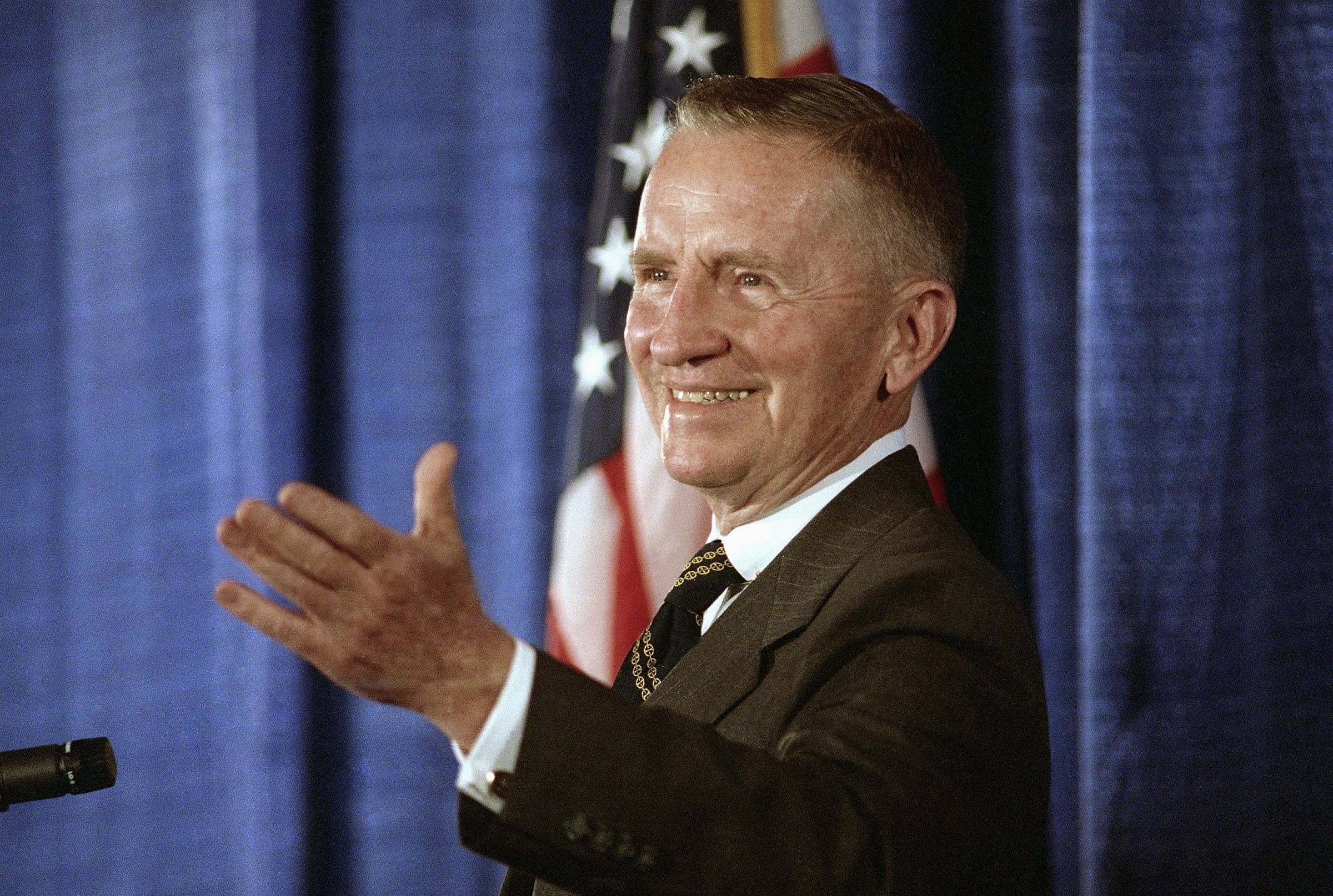 Perot speaks to the press in June 1992; the Texas billionaire ran for President that year as well as in 1996.