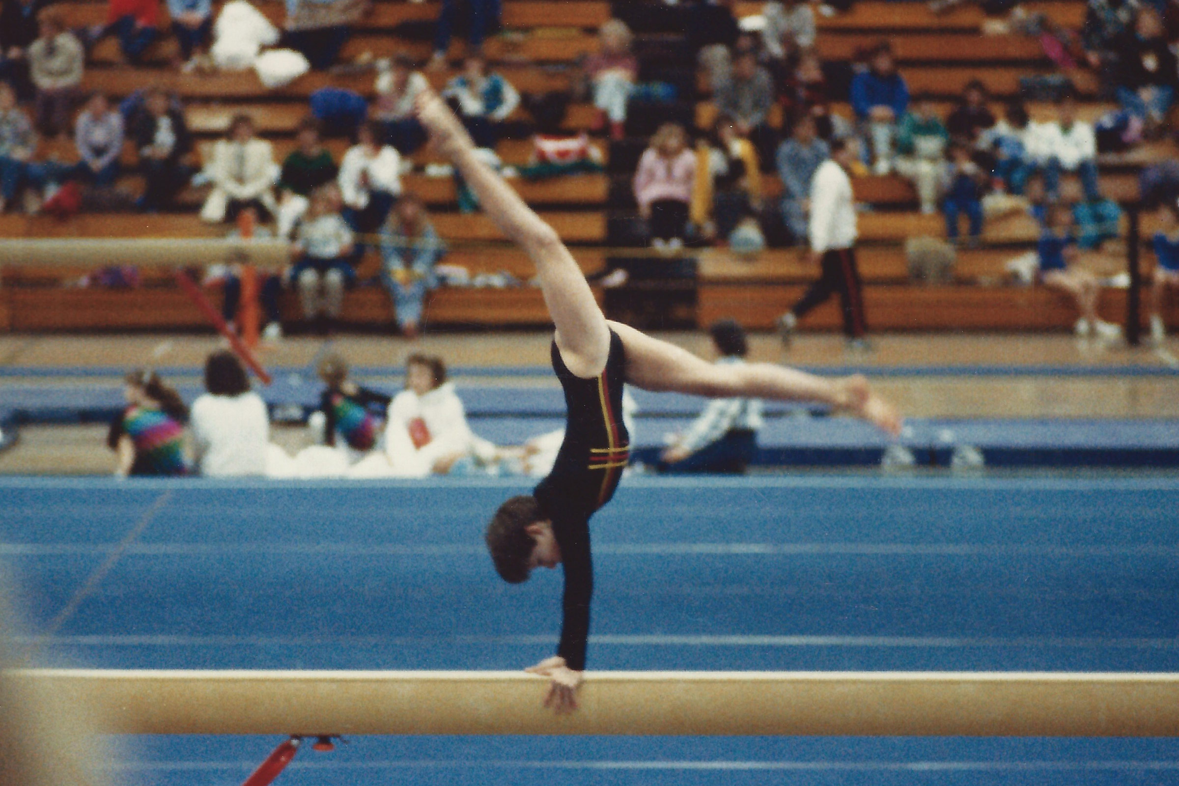 Teristi competes at a national invitational in 1987
