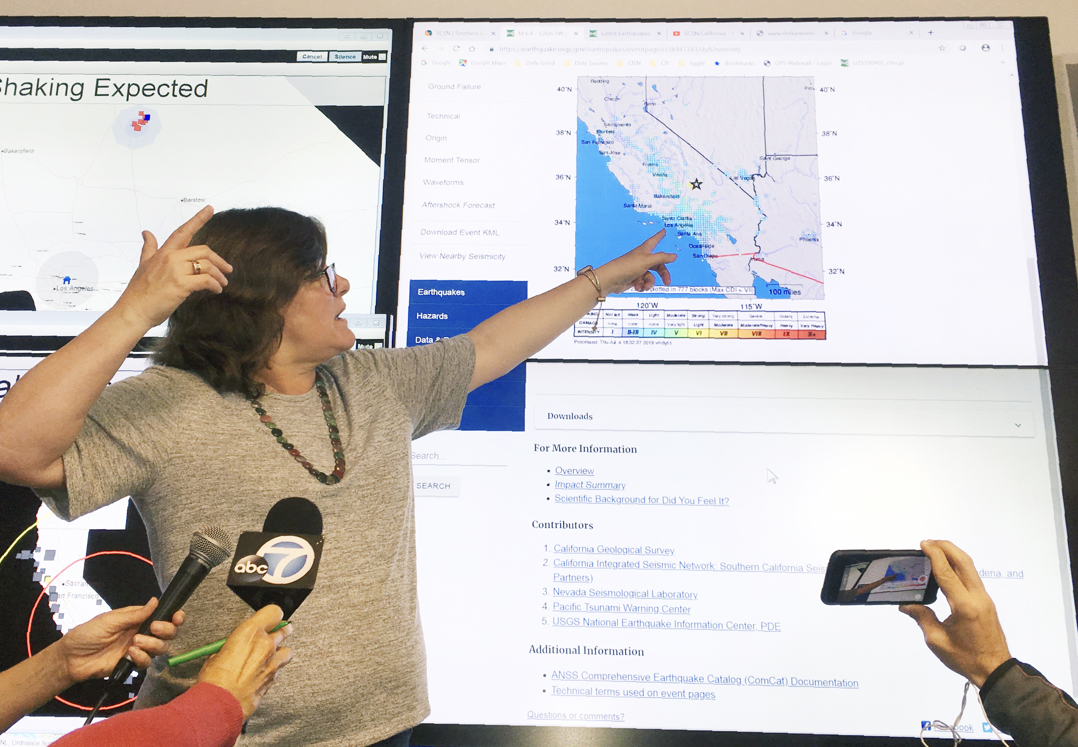 Seismologist Lucy Jones talks during a news conference at the Caltech Seismological Laboratory in Pasadena, Calif., Thursday, July 4, 2019. A strong earthquake rattled a large swath of Southern California and parts of Nevada on Thursday morning, making hanging lamps sway and photo frames on walls shake. There were no immediate reports of damage or injuries but a swarm of aftershocks were reported.