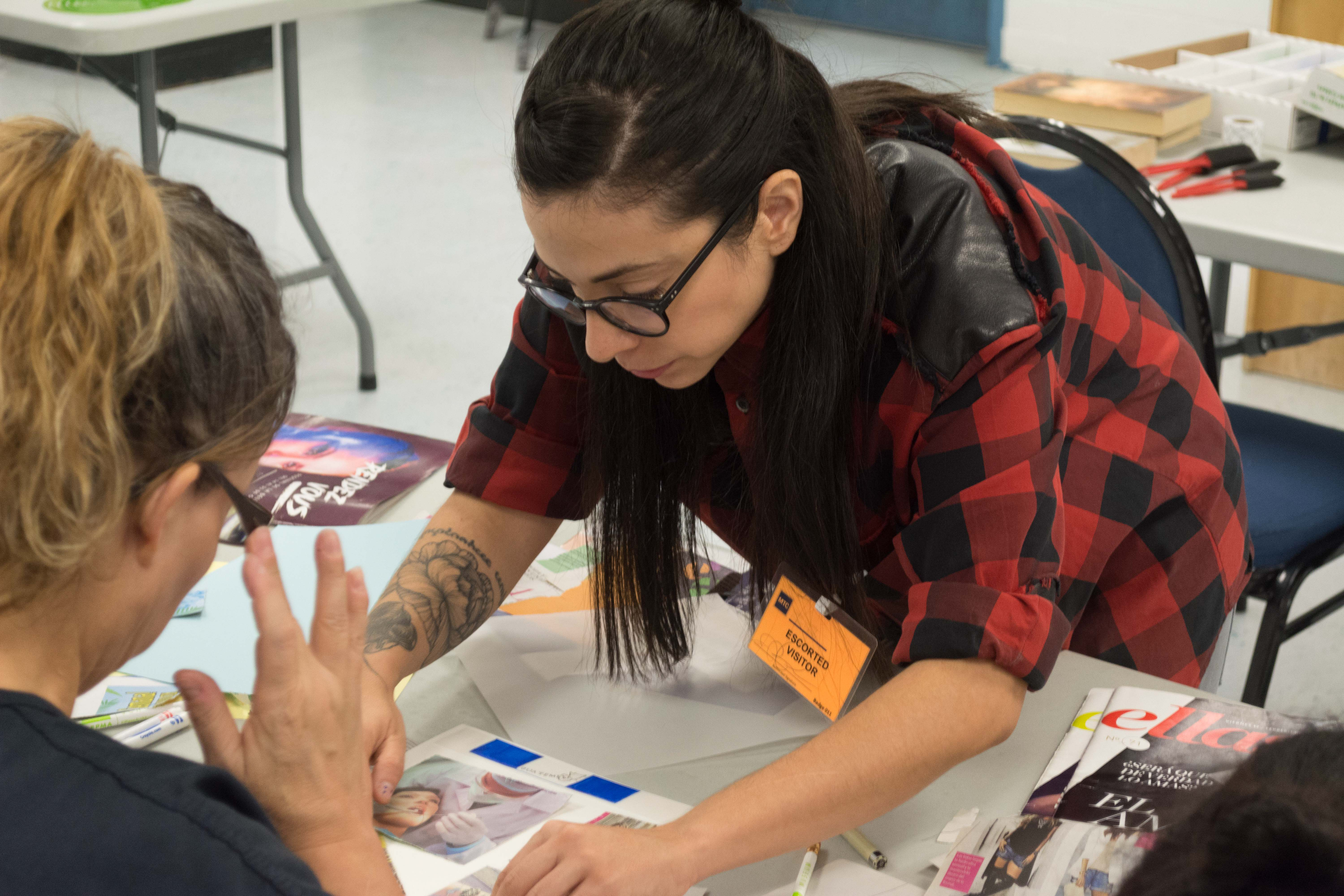 Artist Haydee Alonso hosts an art workshop at the Otero County Prison housing migrant women awaiting asylum proceedings in 2016.