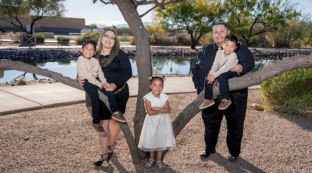The Manuel family lives near the Gila River Indian Community in Arizona and spends time with relatives there.