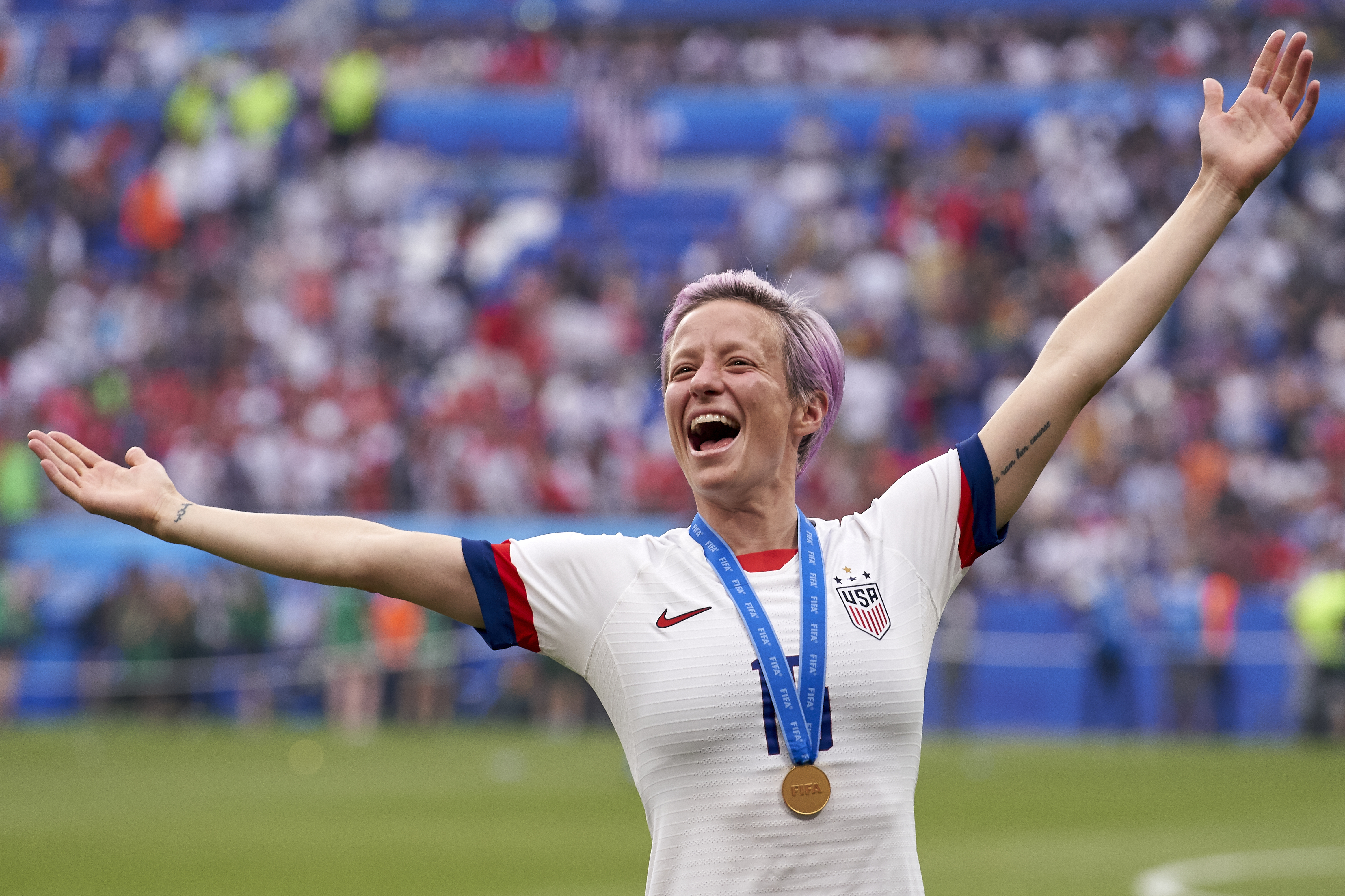 Megan Rapinoe of the USA celebrates winning after the 2019 FIFA Women's World Cup France Final match between the USA and Netherlands at Stade de Lyon on July 7, 2019 in Lyon, France.