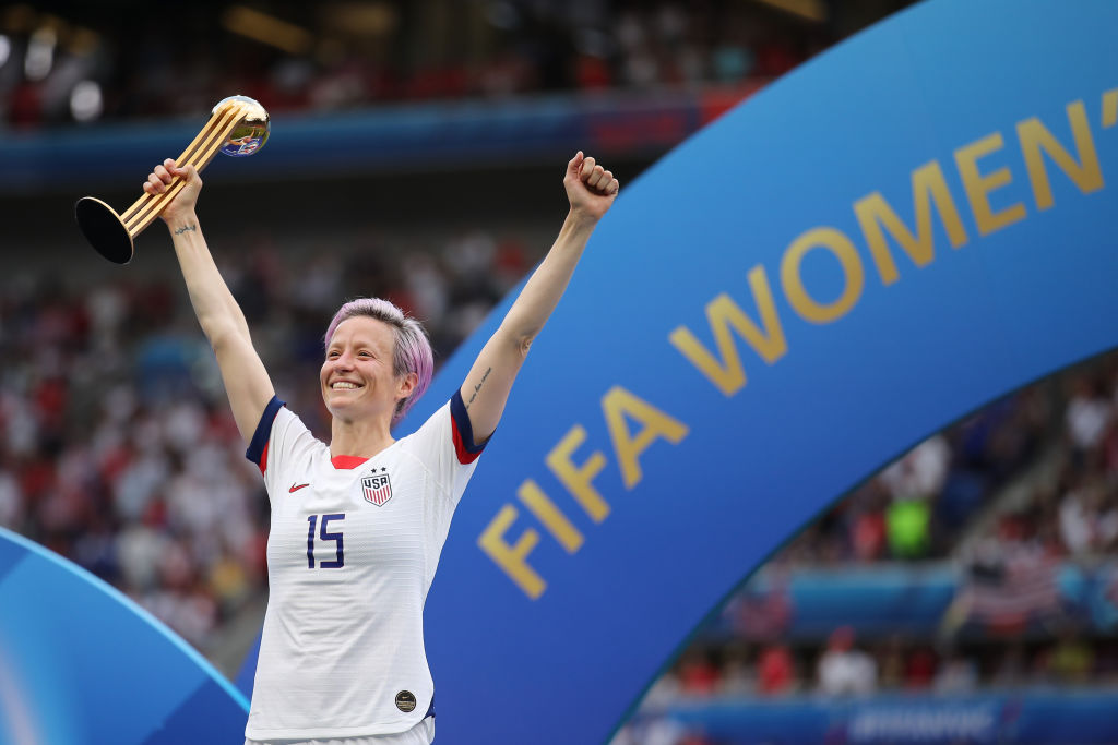Megan Rapinoe of the U.S. team celebrates after the 2019 FIFA Women's World Cup France Final match on July 7, 2019 in Lyon, France.