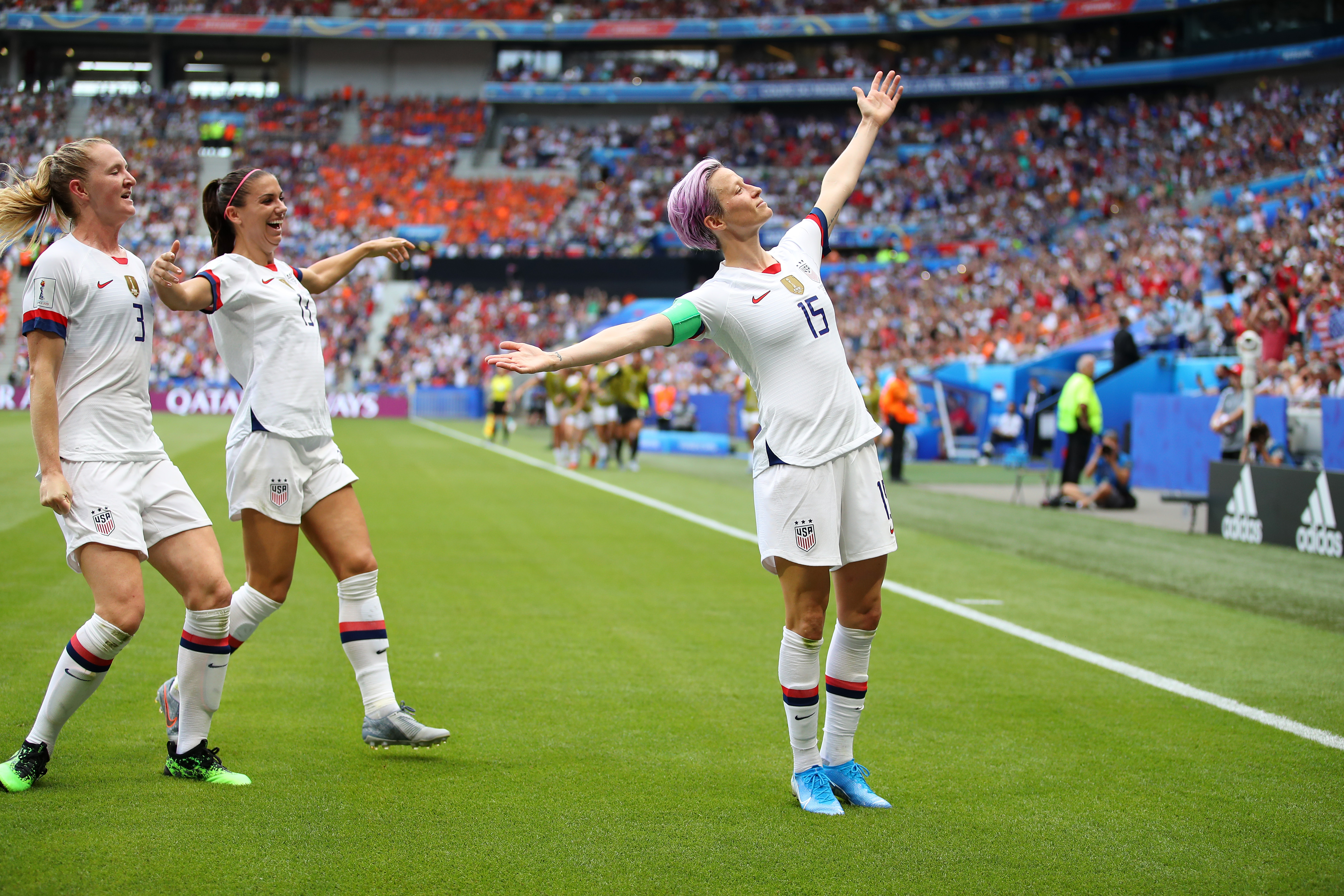 Megan Rapinoe celebrates after scoring her team's first goal during the 2019 FIFA Women's World Cup France Final match between The United States of America and The Netherlands at Stade de Lyon on Sunday, July 07, 2019 in Lyon, France.