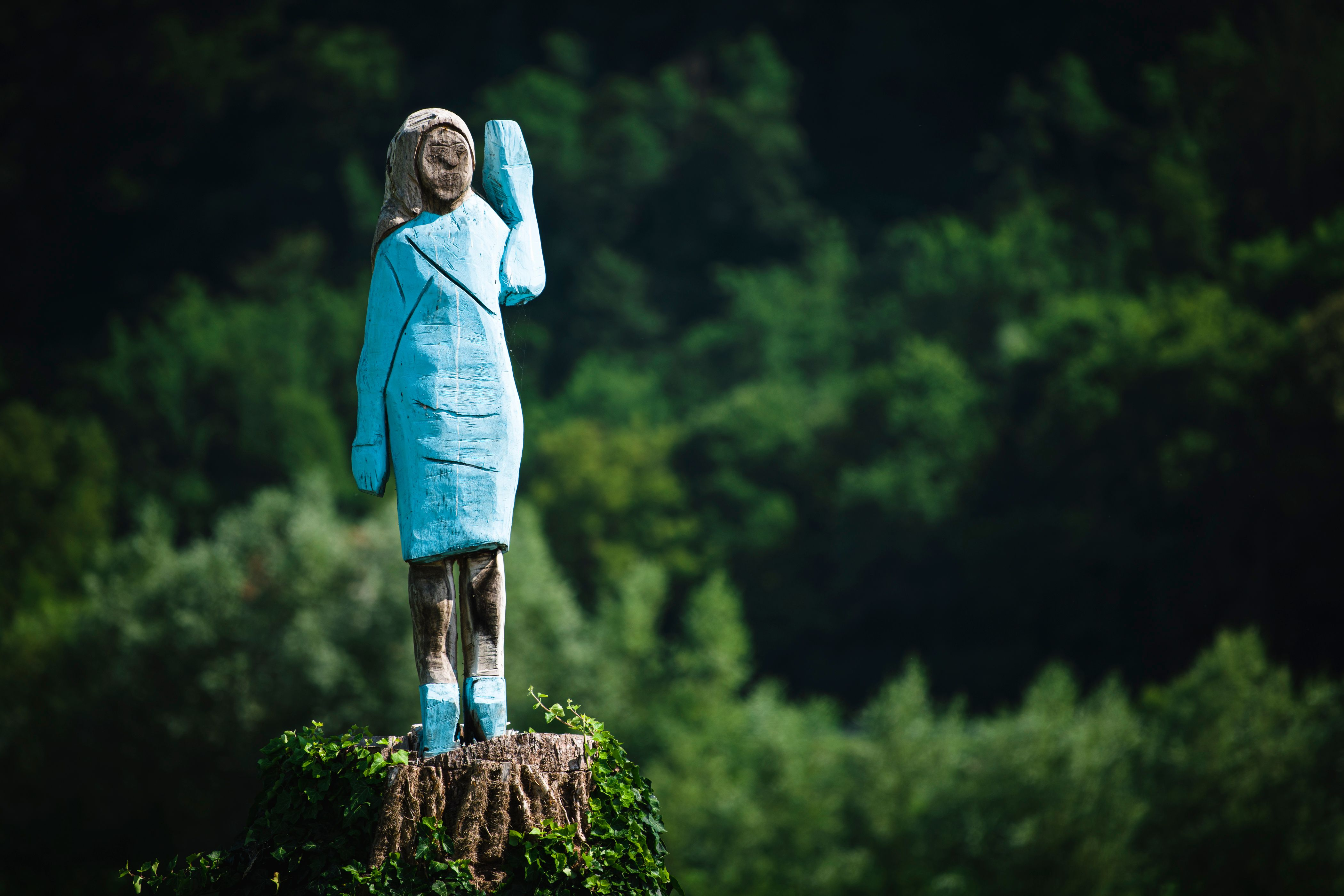 A picture taken on July 5, 2019 shows what conceptual artist Ales 'Maxi' Zupevc claims is the first ever monument of Melania Trump, set in the fields near town of Sevnica, the First Lady's hometown.