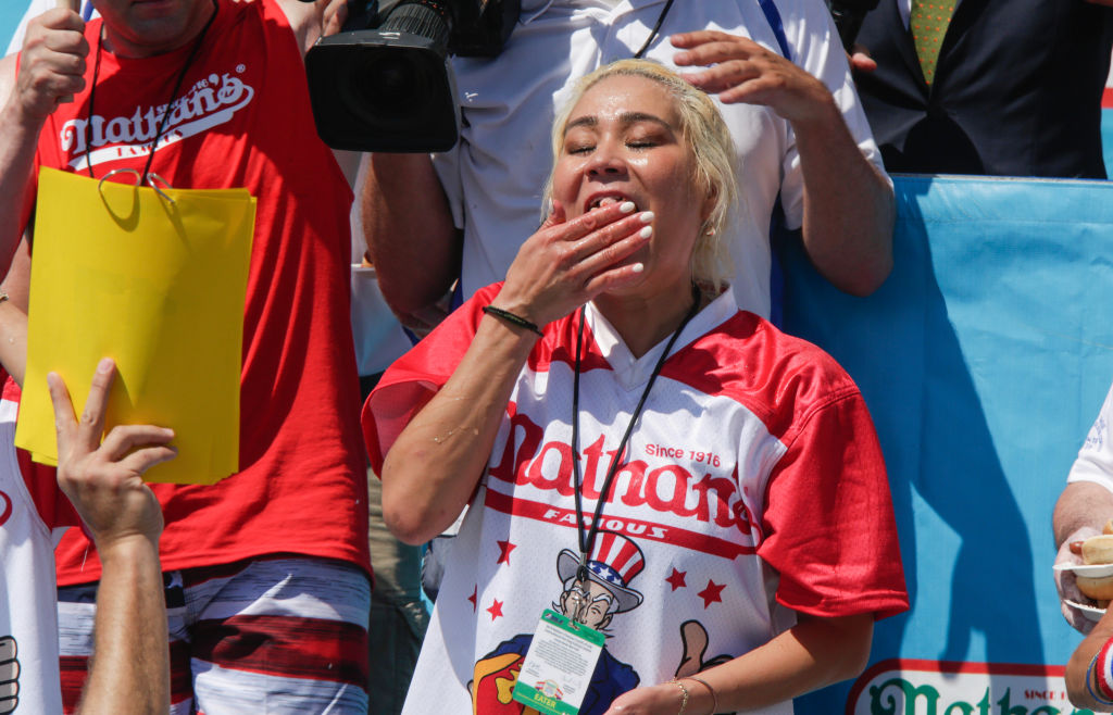 Miki Sudo eats as she attends the women's hot dog eating contest on July 4, 2019 in New York City. Nathan's held its first hot dog eating contest in Coney Island on July 4, 1916.