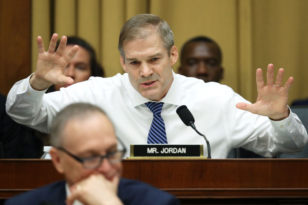 House Judiciary Committee ranking member Rep. Jim Jordan (R-OH) questions former Special Counsel Robert Mueller as he testifies before the House Judiciary Committee about his report on Russian interference in the 2016 presidential election in the Rayburn House Office Building July 24, 2019 in Washington, D.C.