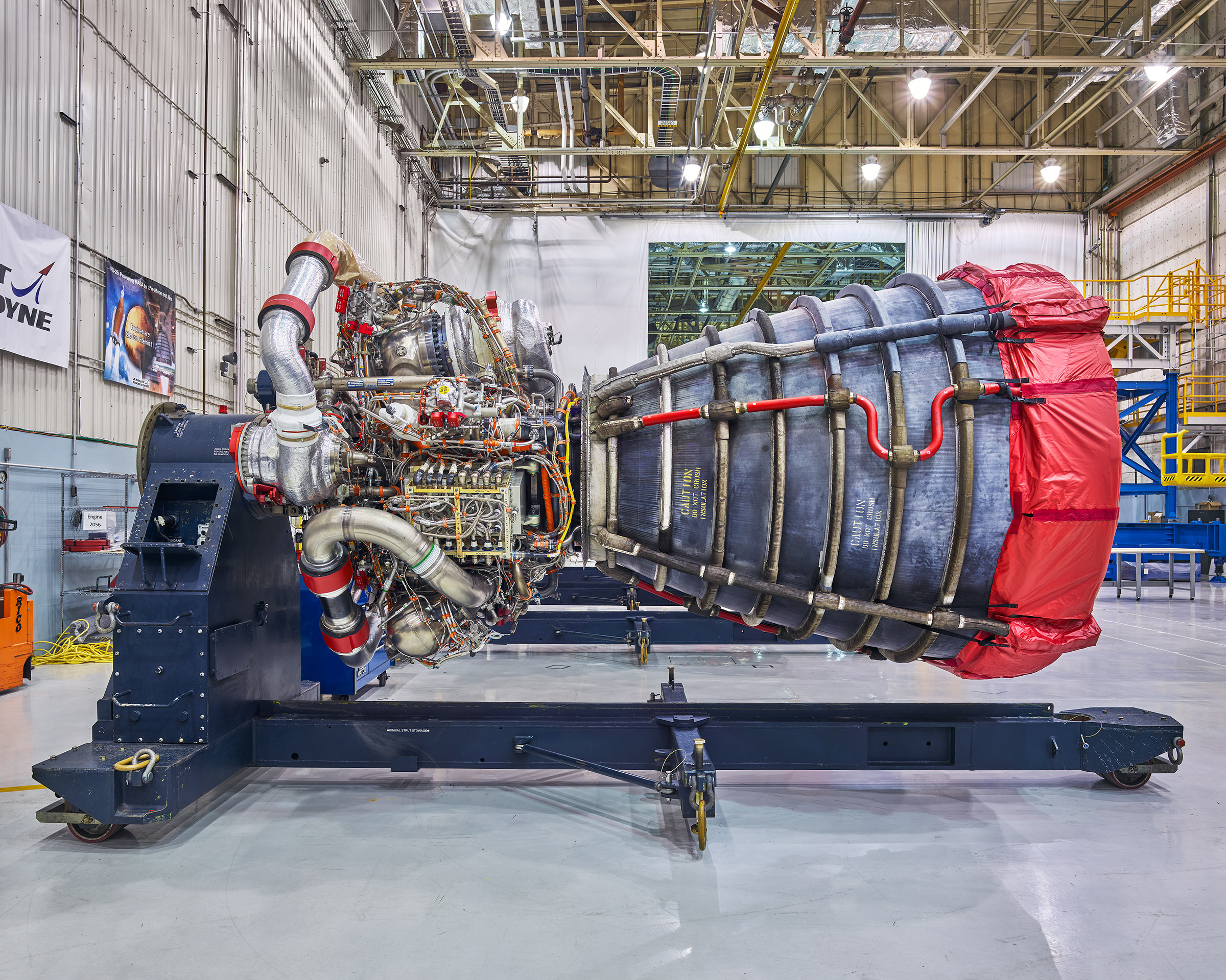 One of the four engines that will be used, along with two solid rocket boosters, to launch NASA's moon rocket and ascend it into space