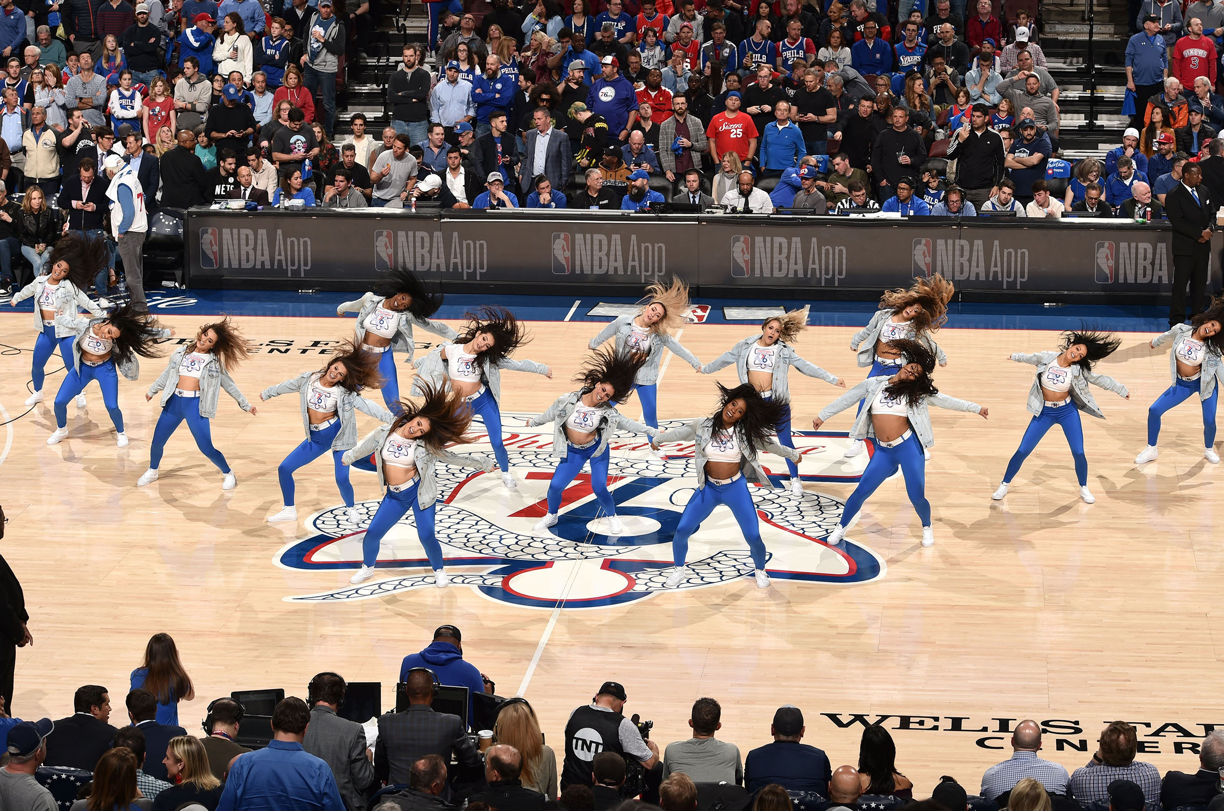 The Sixers Dancers perform in Game Two of Round One between the Brooklyn Nets and the Philadelphia 76ers during the 2019 NBA Playoffs on April 15, 2019 at the Wells Fargo Center in Philadelphia, Pennsylvania.