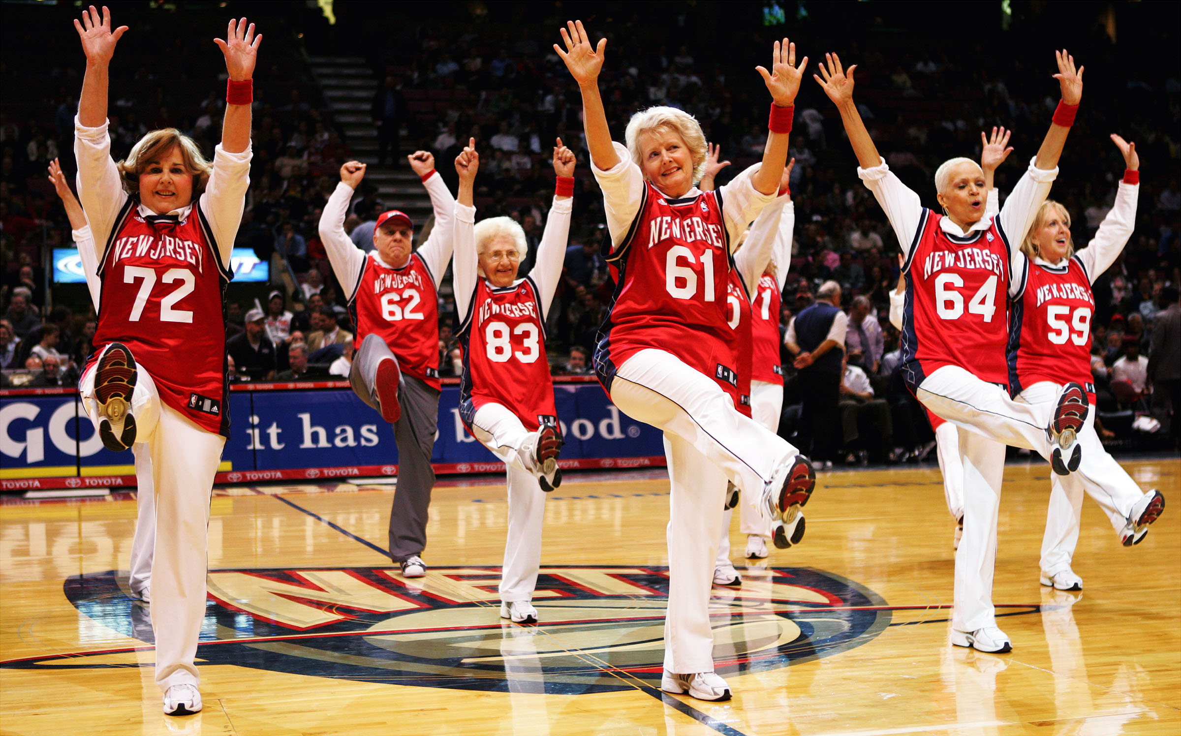 The New Jersey Nets Senior Dancers make their debut at the Continental Airlines Arena during a home game against the Detroit Pistons in 2007.