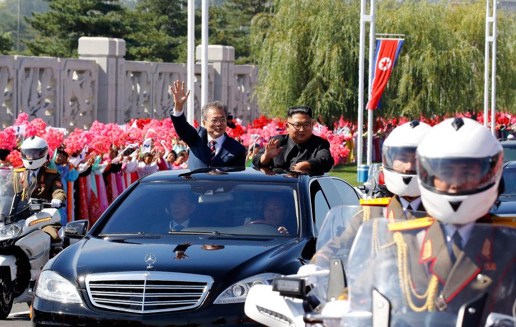 South Korean President Moon Jae-in (and North Korean leader Kim Jong-un ride in a Mercedes in Pyongyang, North Korea on Sept. 18, 2018.