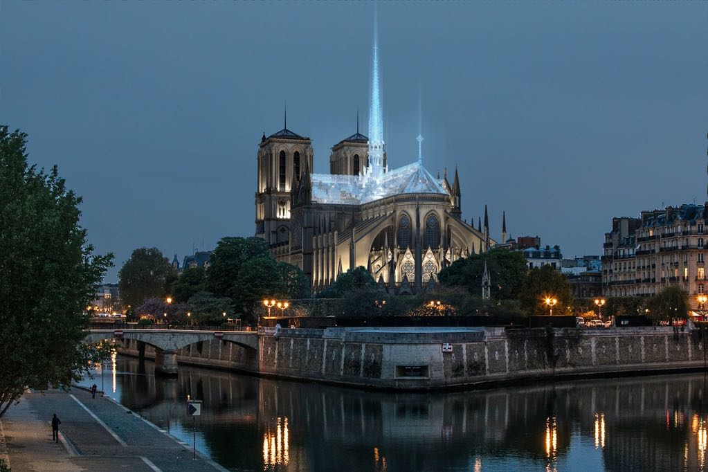 A rendering of Eight Inc.'s proposal for rebuilding Notre Dame Cathedral.