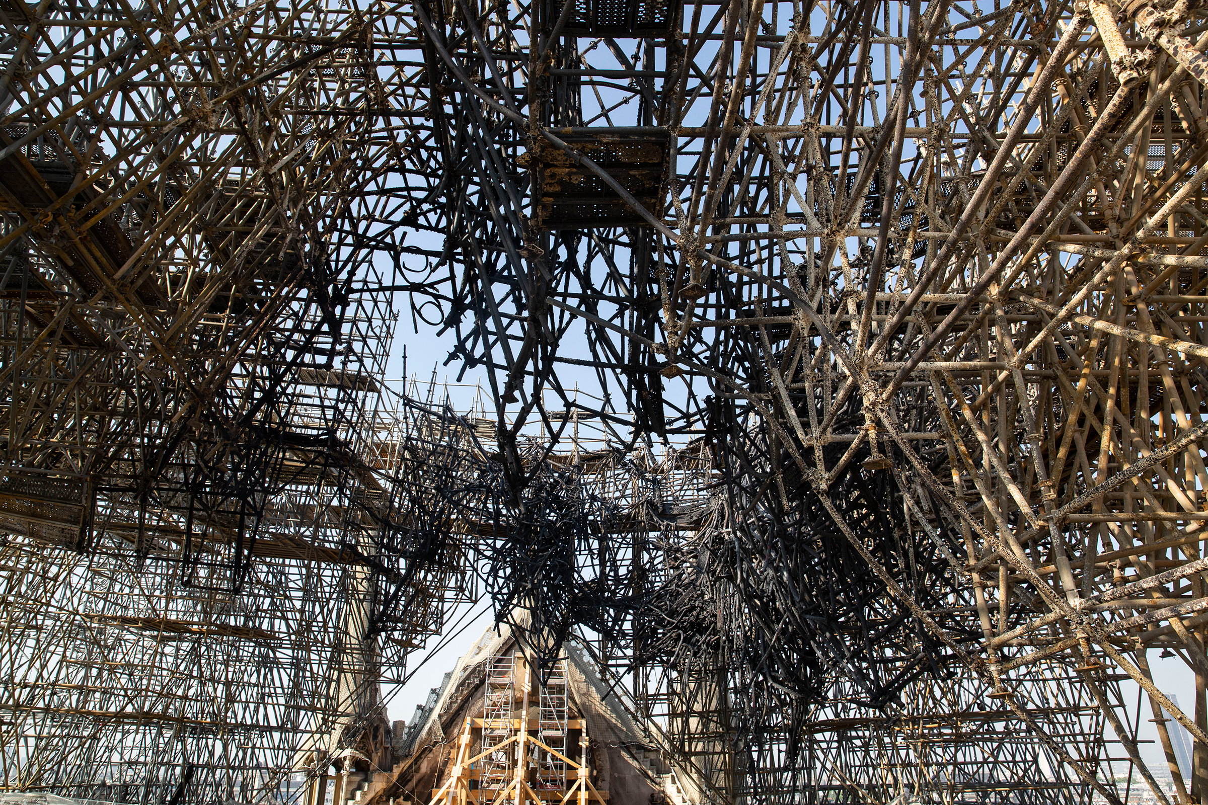 Much of the roof's frame is now just a giant tangle of molten lead.