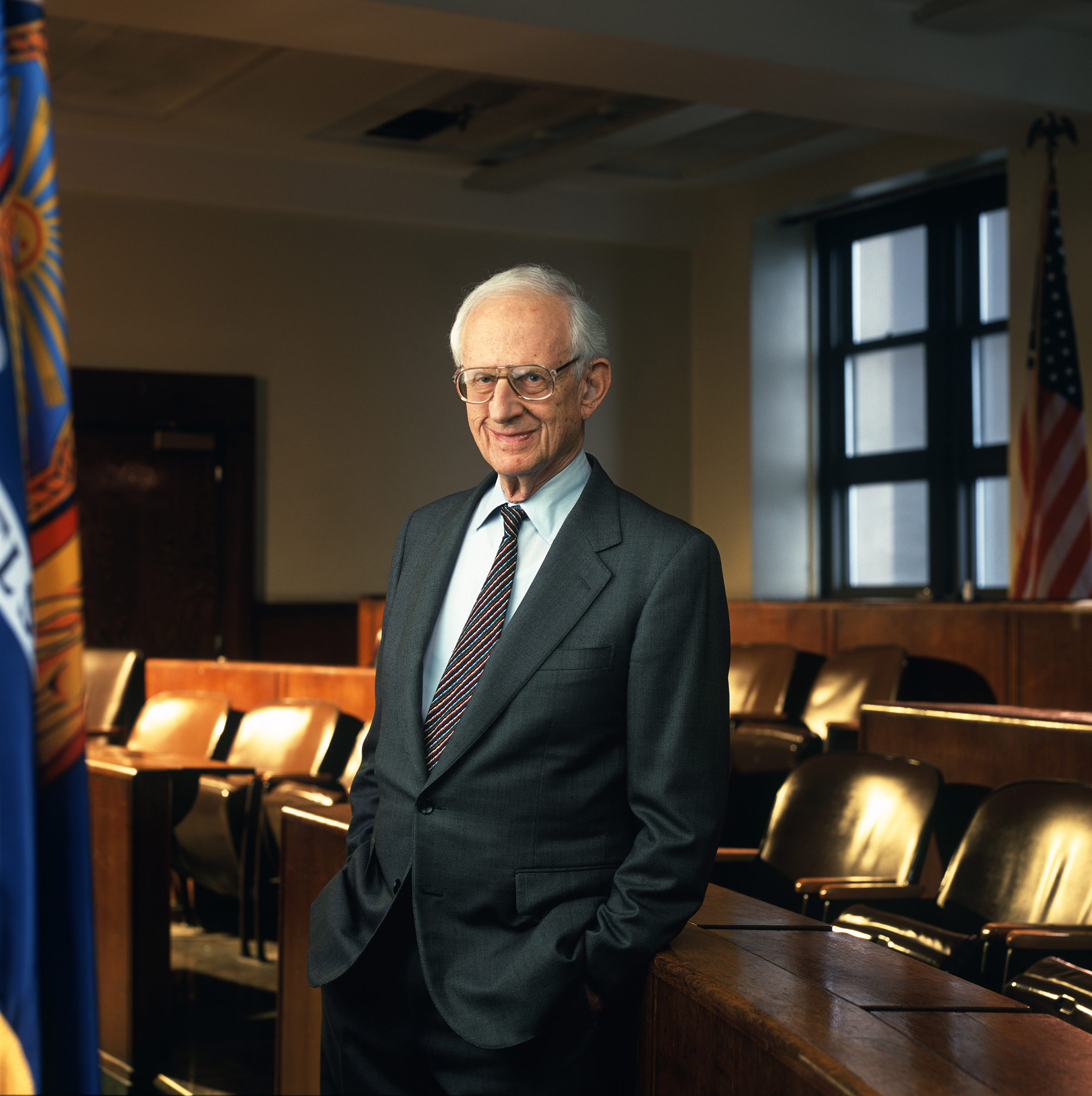 Morgenthau, the longest-serving Manhattan district attorney, poses for a portrait in a New York City courtroom on April 26, 2000.