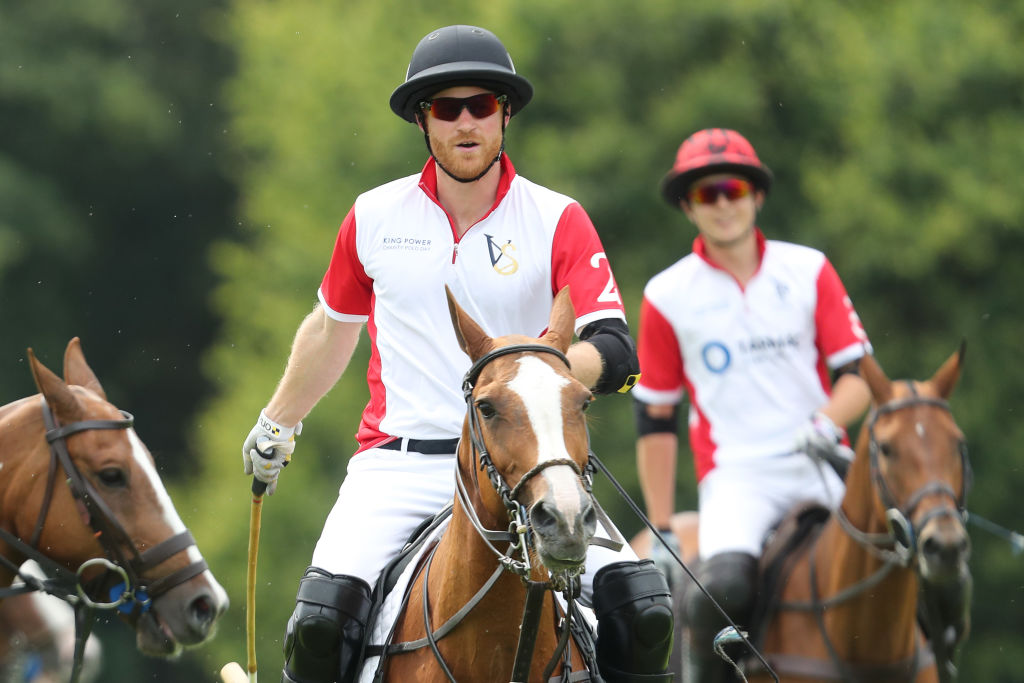 Prince Harry, Duke of Sussex competes during King Power Royal Charity Polo Day for the Vichai Srivaddhanaprabha Memorial Trophy at Billingbear Polo Club on July 10, 2019 in Wokingham, England.