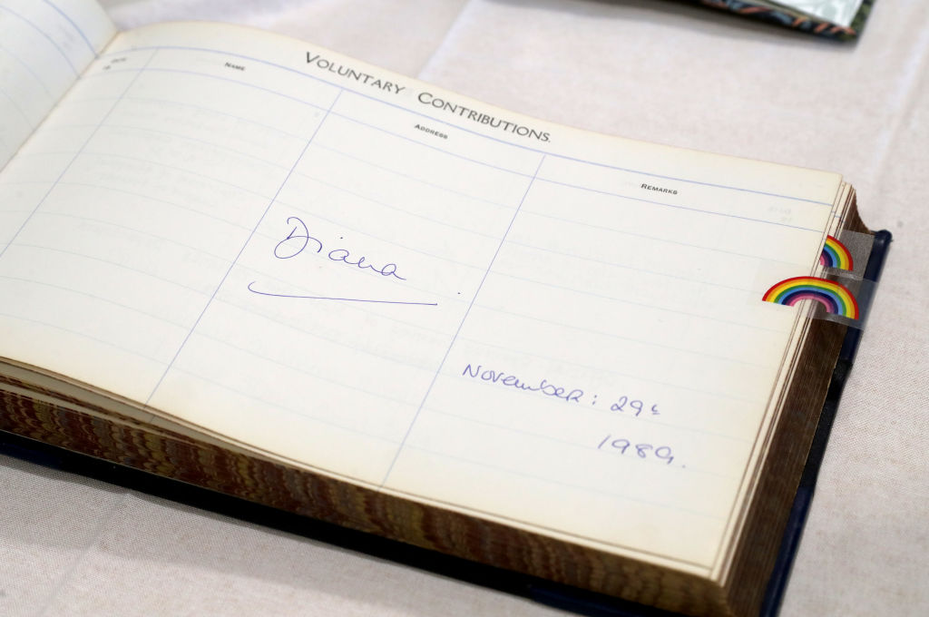 The signature of Princess Diana when she visited the hospital 30 years ago, during Prince Harry, Duke of Sussex's visit to Sheffield Children's Hospital on July 25, 2019 in Sheffield, England.