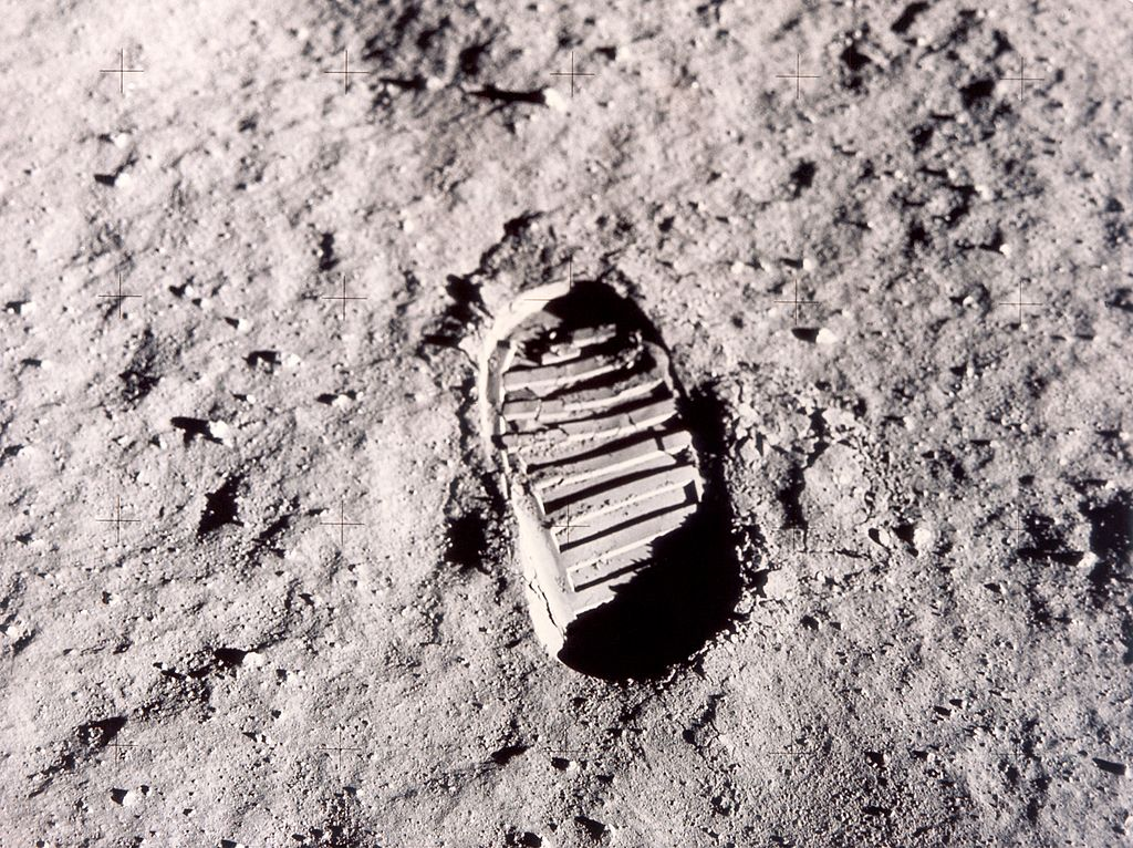 A footprint left on the surface of the moon by one of the Apollo 11 astronauts during their historic lunar EVA, 20th July 1969.