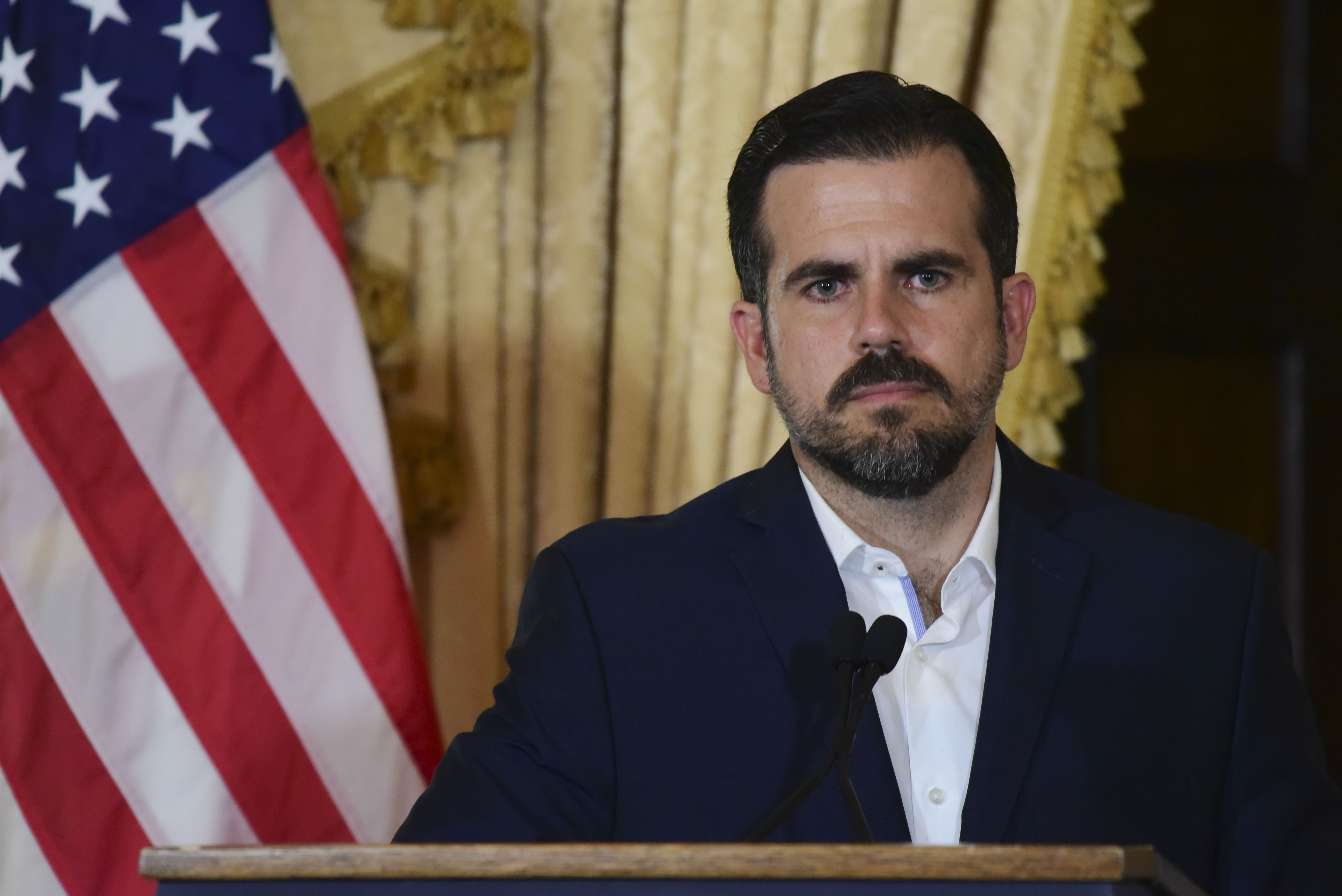 Puerto Rico governor Ricardo Rossello holds a press conference, almost two days after federal authorities arrested the island's former secretary of education and five other people on charges of steering federal money to unqualified, politically connected contractors, in San Juan, Puerto Rico on July 11, 2019.