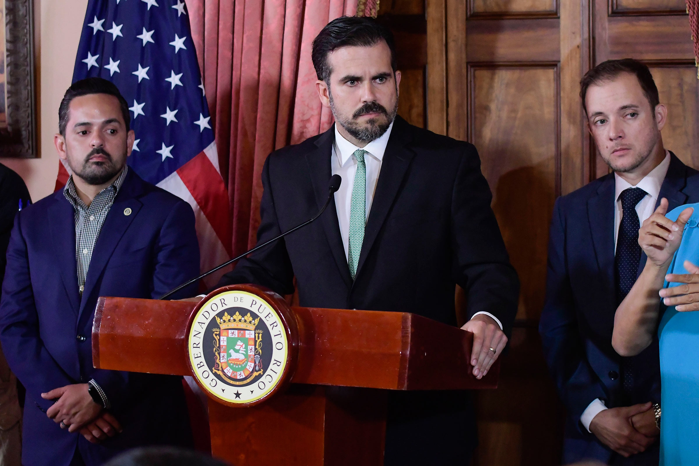 Governor Rosselló at a press conference on his administration's scandal on July 16.