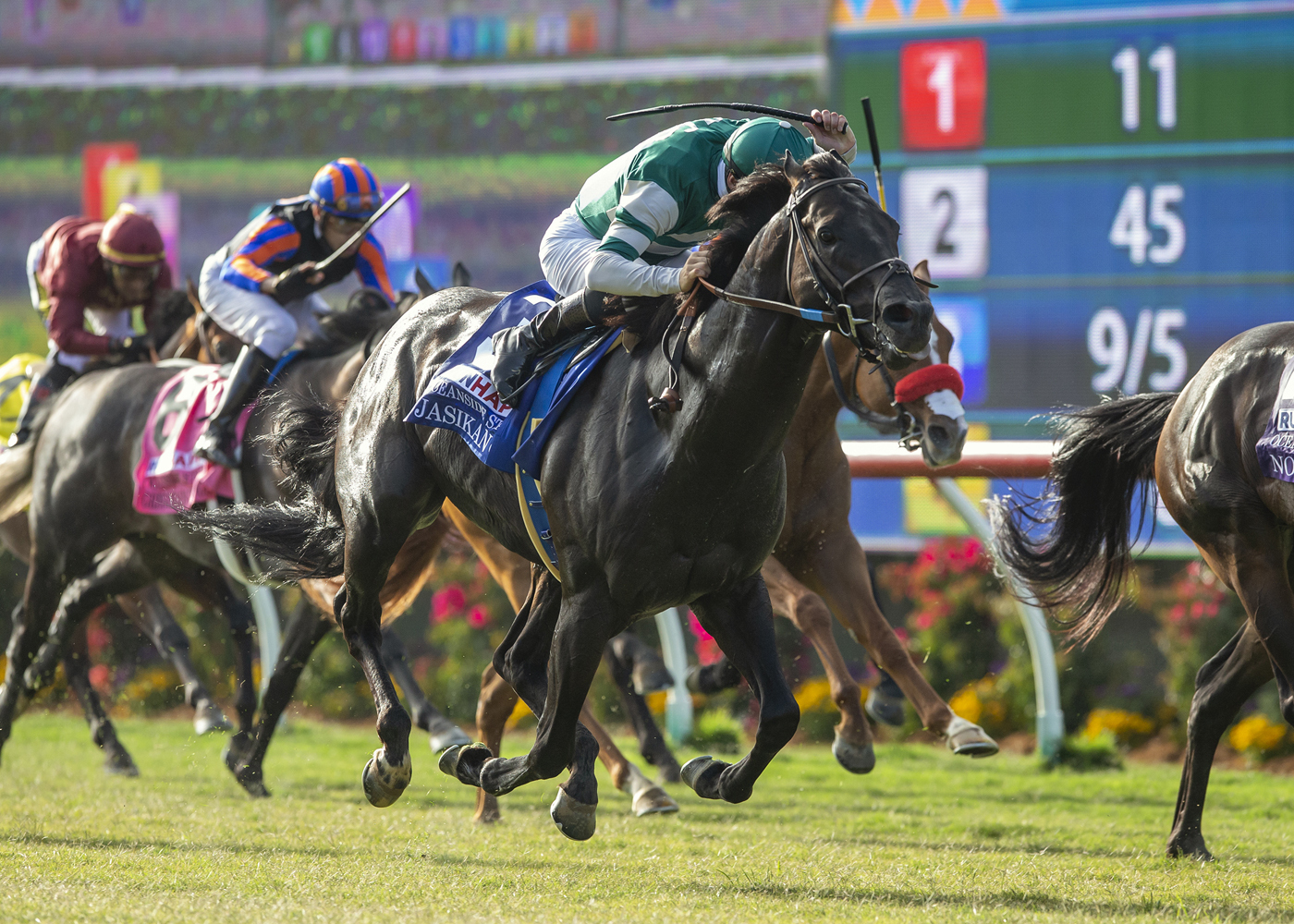 Horses racing on opening day of Del Mar Thoroughbred Club's 80th summer racing season, in Del Mar, Calif. on July 17, 2019.