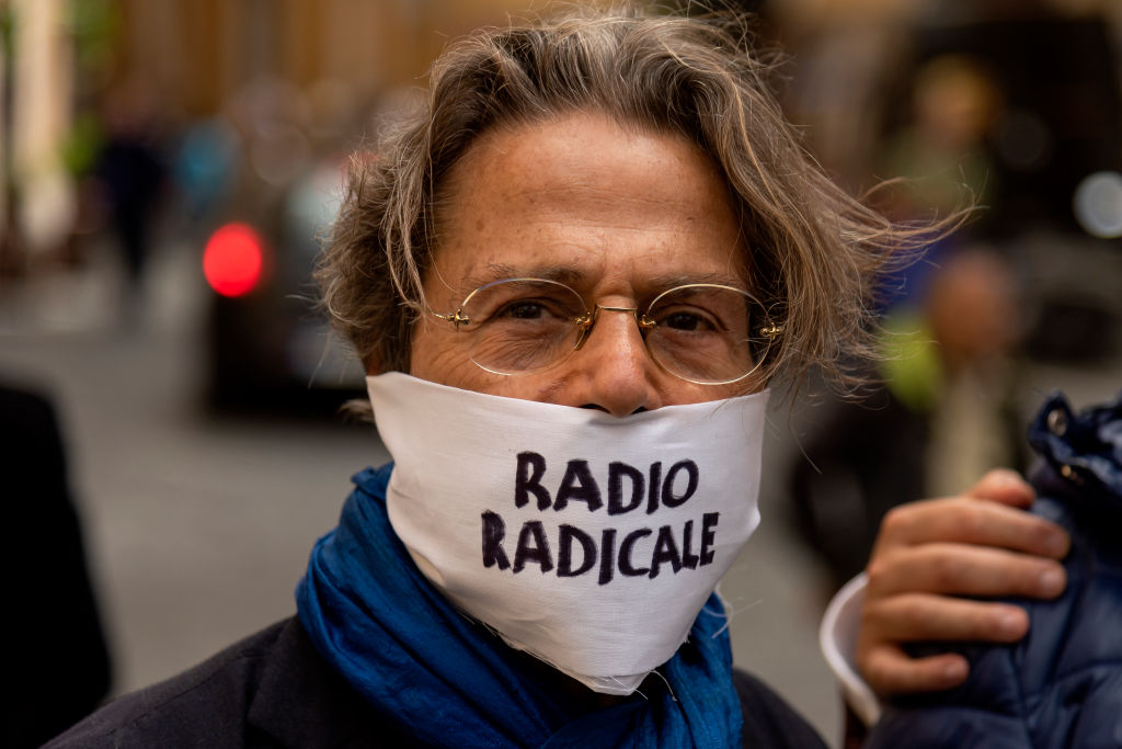 Demonstration against the goverment's decision to close Radio Radicale, the historic radio station of the Radical Party, in front of the Parliament organized by the National Federation of the Press on May 28, 2019 in Rome, Italy.
