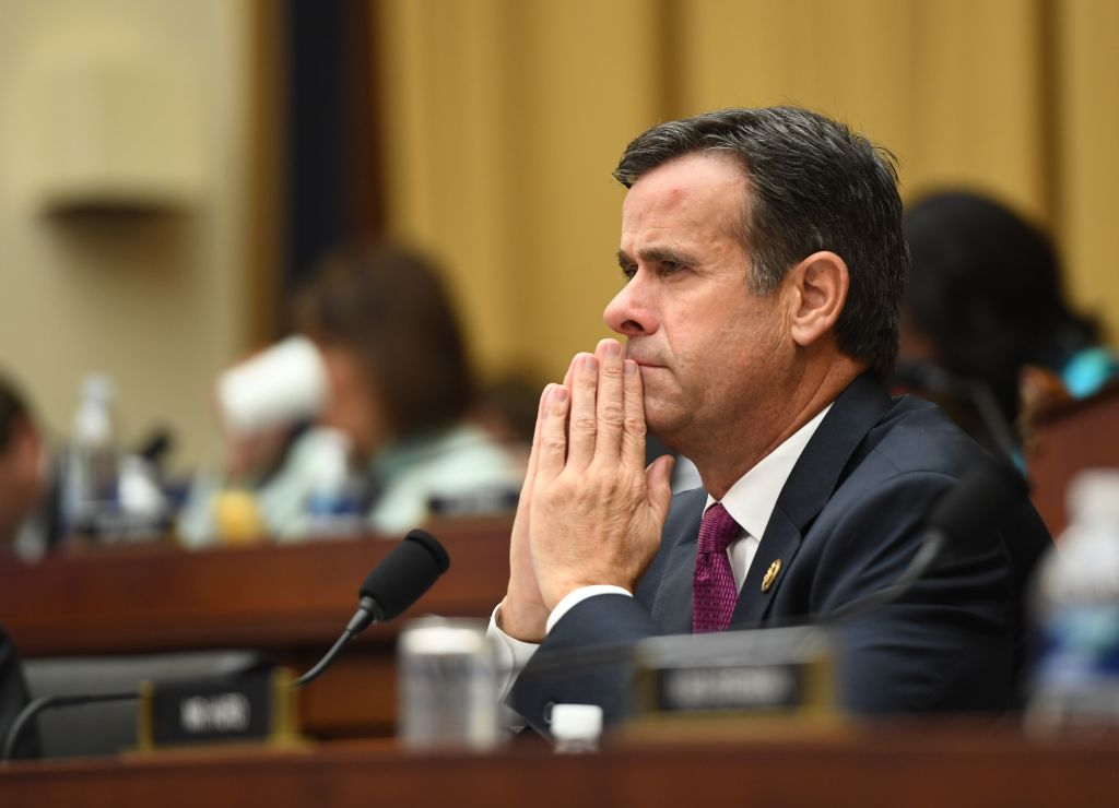 U.S. Representative John Ratcliffe, Republican of Texas, listens as former Special Counsel Robert Mueller testifies in Washington, DC, on  July 24, 2019.