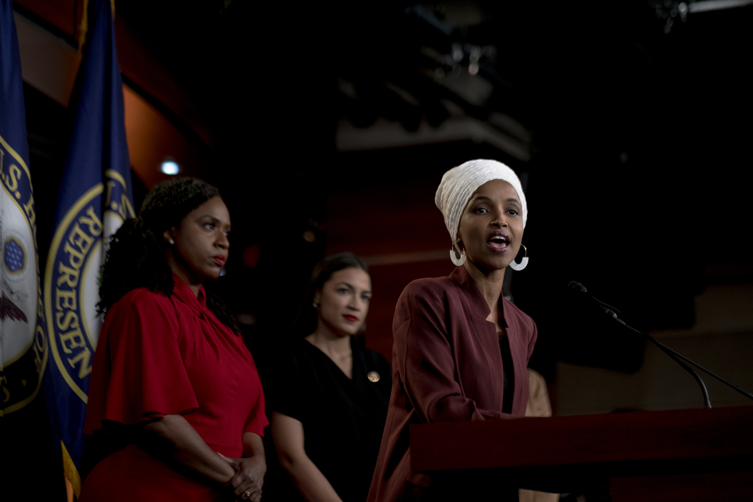 Omar speaks at a press conference following Trump's racist Twitter attack on July 15, 2019.