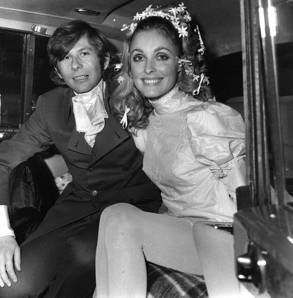 Polish film director Roman Polanski and American actress Sharon Tate (1943 - 1969) at their wedding.