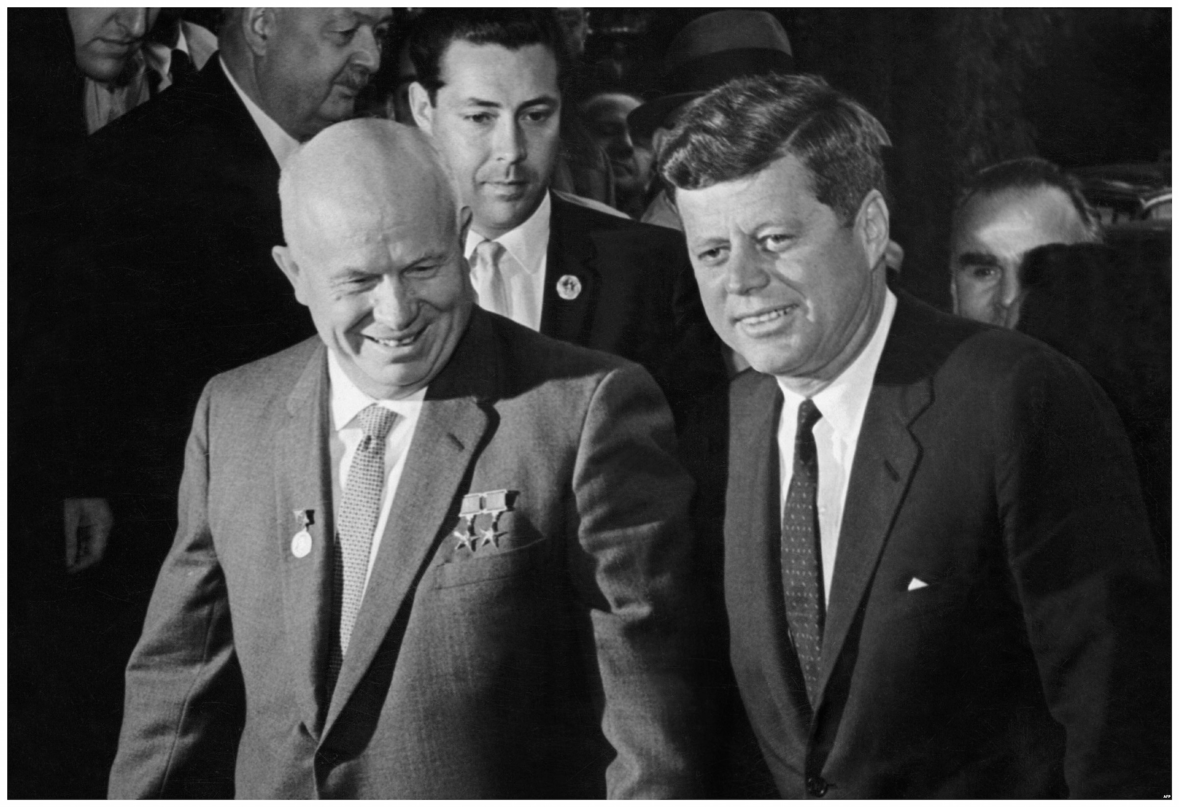 On June 4, 1961, in Vienna, President John F. Kennedy of the United States and Premier Nikita Khrushchev of the Soviet Union meet