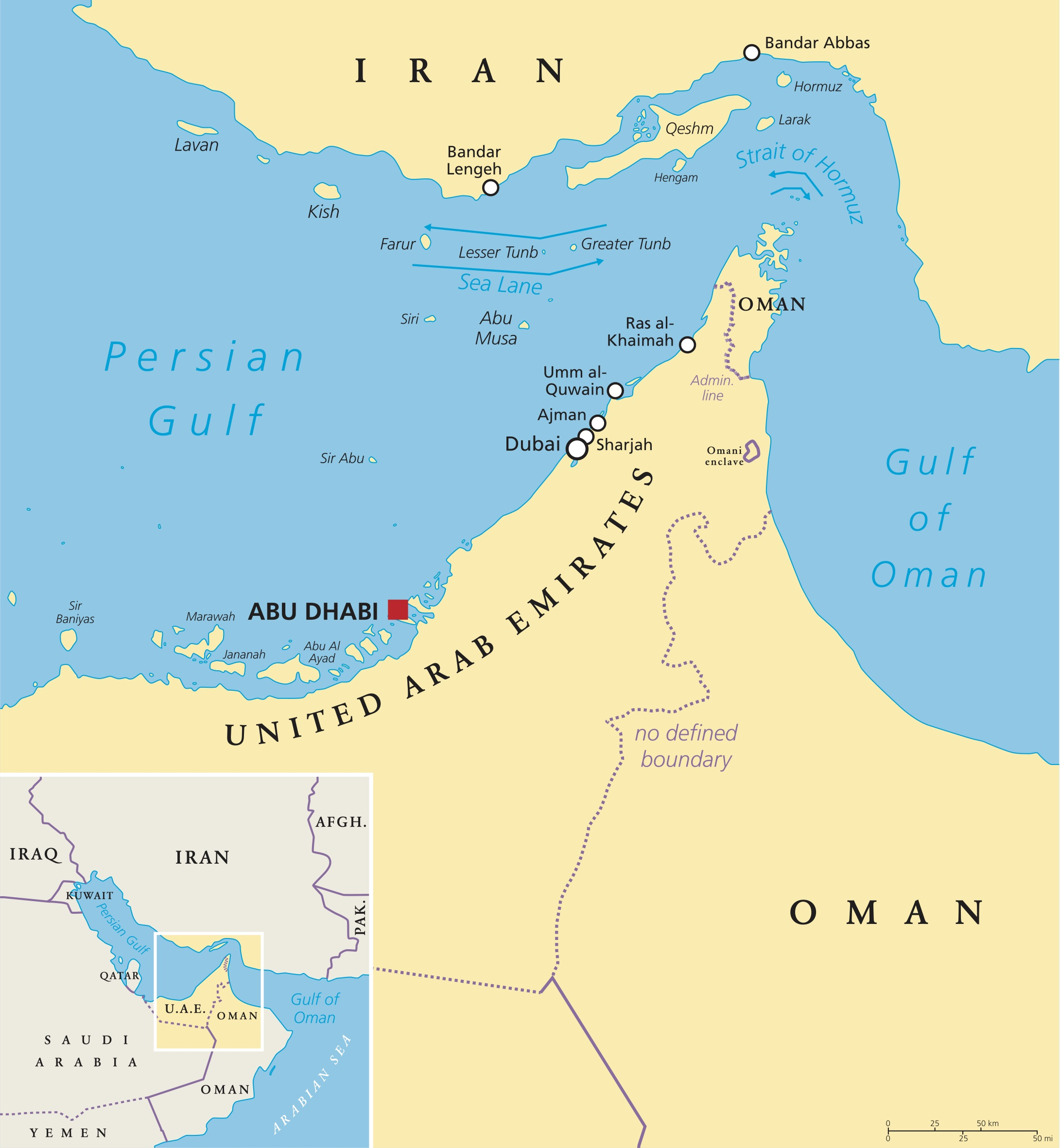 Strait of Hormuz, Abu Musa and the Tunbs political map. The Strait is the only sea passage from Persian Gulf to Arabian Sea and one of the most strategically important choke points in world