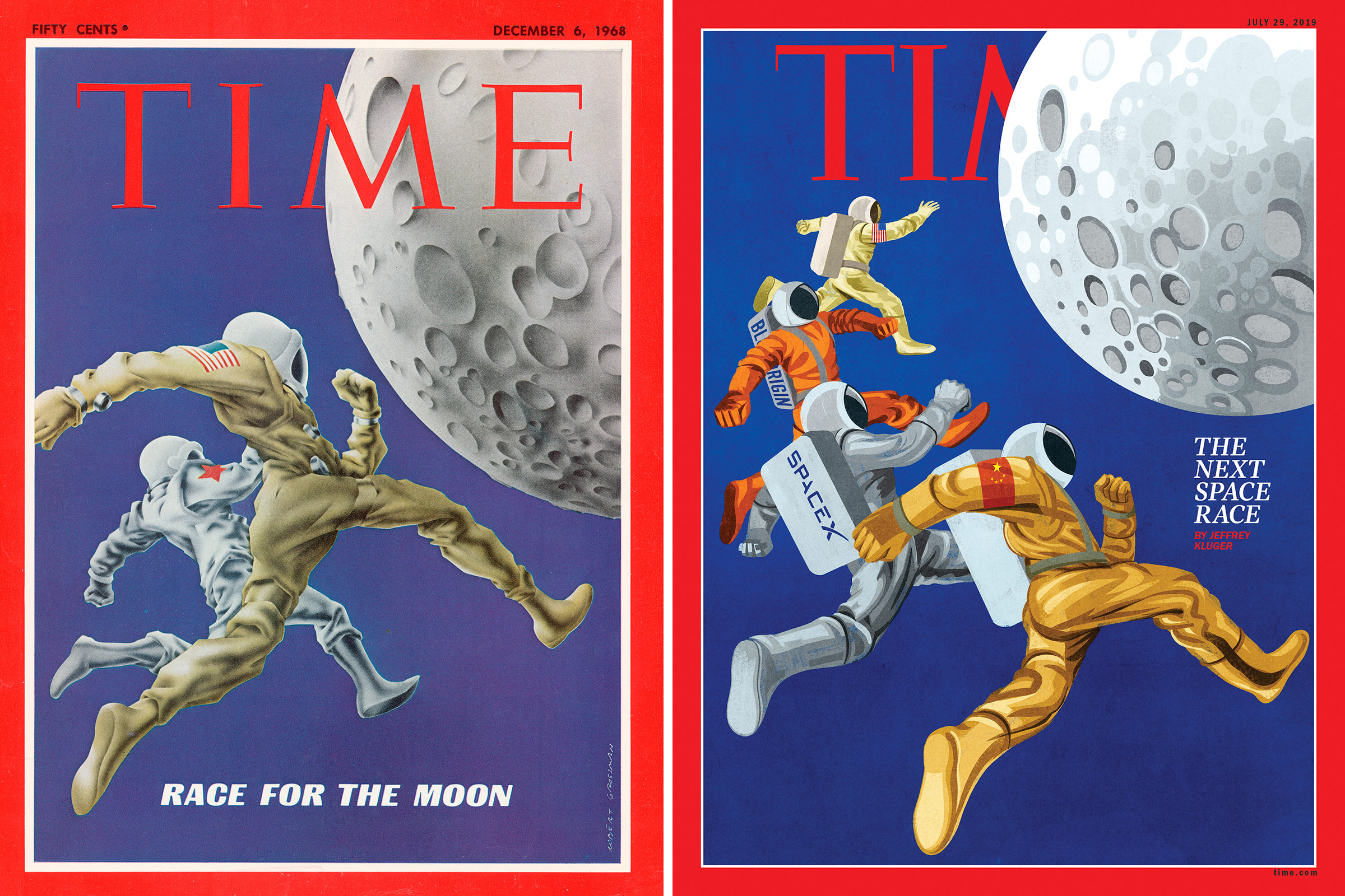 This week's cover illustration, right, of the new space race is a homage to the Dec. 6, 1968, cover. Published shortly before the success of Apollo 8 made U.S. astronauts first to orbit the moon, that issue marked a pivotal moment for space exploration.
