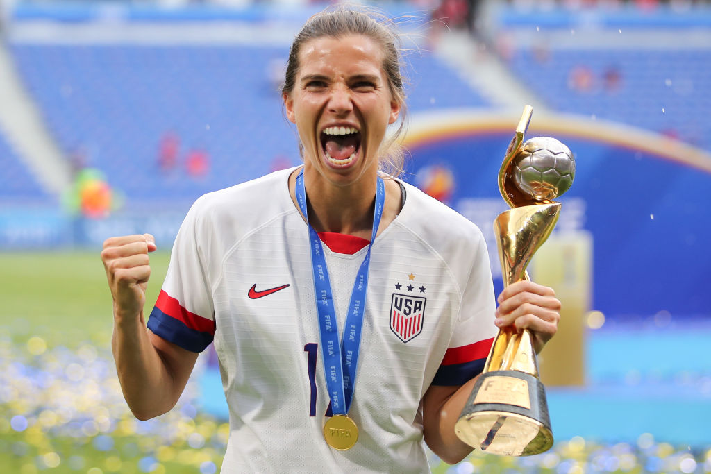 Tobin Heath of the U.S. team celebrates after the Final match on July 7, 2019 in Lyon, France.