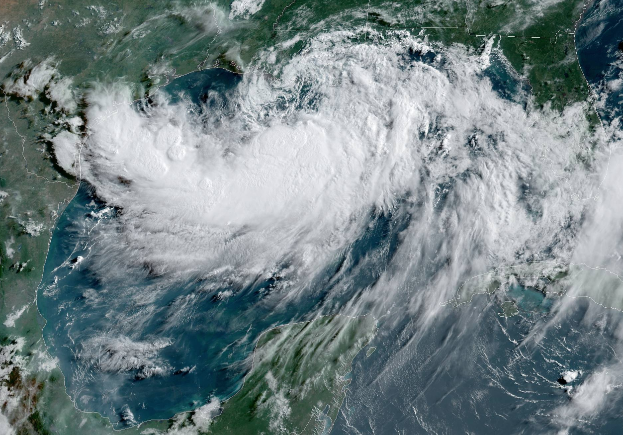 Tropical Storm Barry as seen from NOAA's GOES-16 satellite on Friday, July 12.