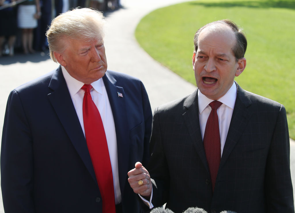 Labor SecretaryAlex Acostastands with U.S. President Donald Trump while announcing his resignation to the media at the White House on July 12, 2019 in Washington, DC. Acosta has been under fire for his role in the Jeffrey Epsteinplea deal over a decade ago when he was a U.S. Attorney in Florida.