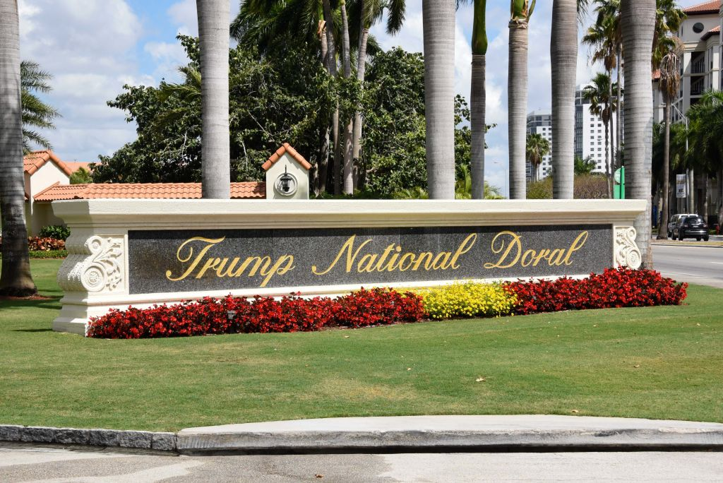 The view leading into Trump National Doral in Miami, Florida on April 3, 2018.