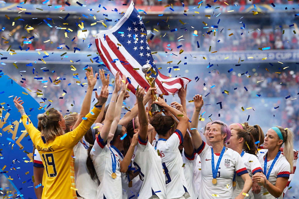 U.S. players lift their trophy after winning the 2019 FIFA Women's World Cup Final match between the U.S. and The Netherlands at Stade de Lyon on July 07, 2019 in Lyon, France.