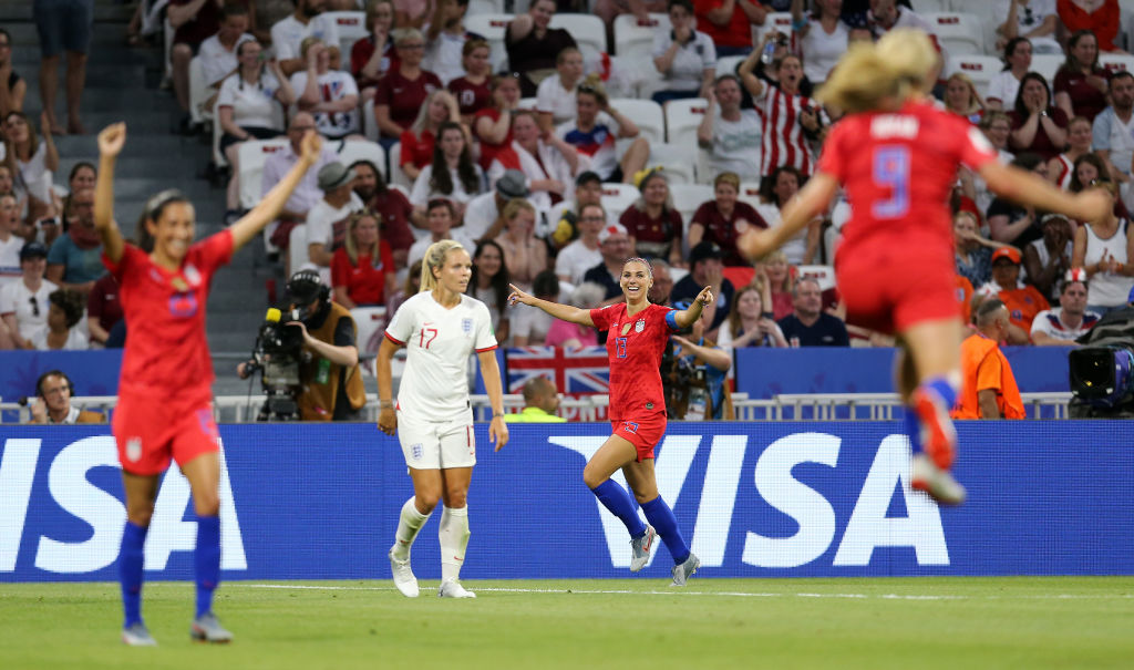 Alex Morgan of the USA celebrates after scoring her team's second goal during the 2019 FIFA Women's World Cup France Semi Final match between England and USA at Stade de Lyon on July 02, 2019 in Lyon, France.