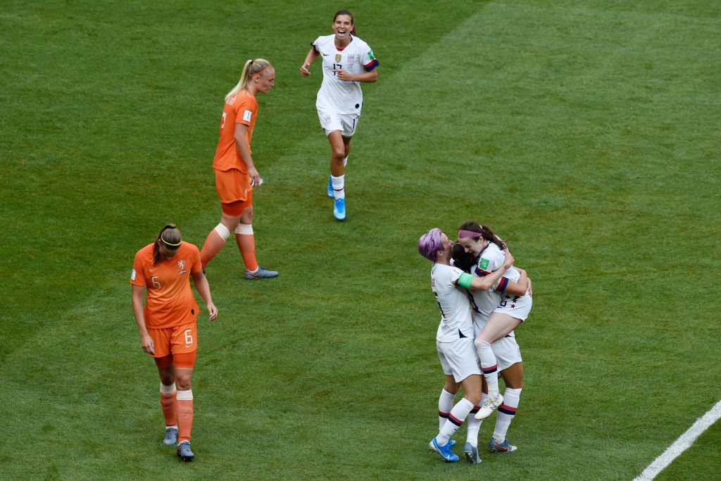 United States' midfielder Rose Lavelle celebrate scoring the 2-0 goal with her teammates during the France 2019 Womens World Cup football final match between USA and the Netherlands, on July 7, 2019, at the Lyon Stadium in Lyon, central-eastern France.